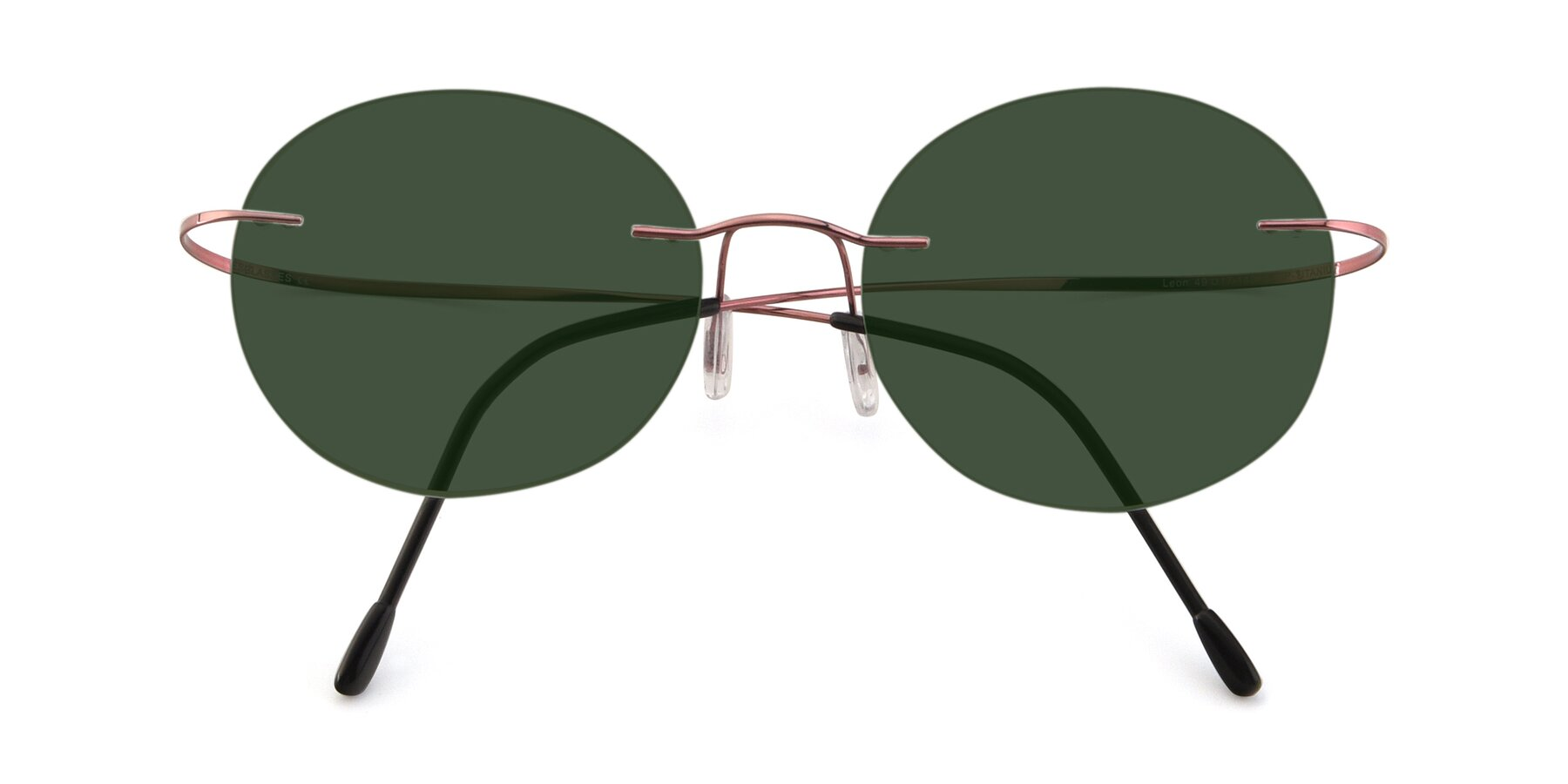 Folded Front of Leon in Light Pink with Green Tinted Lenses