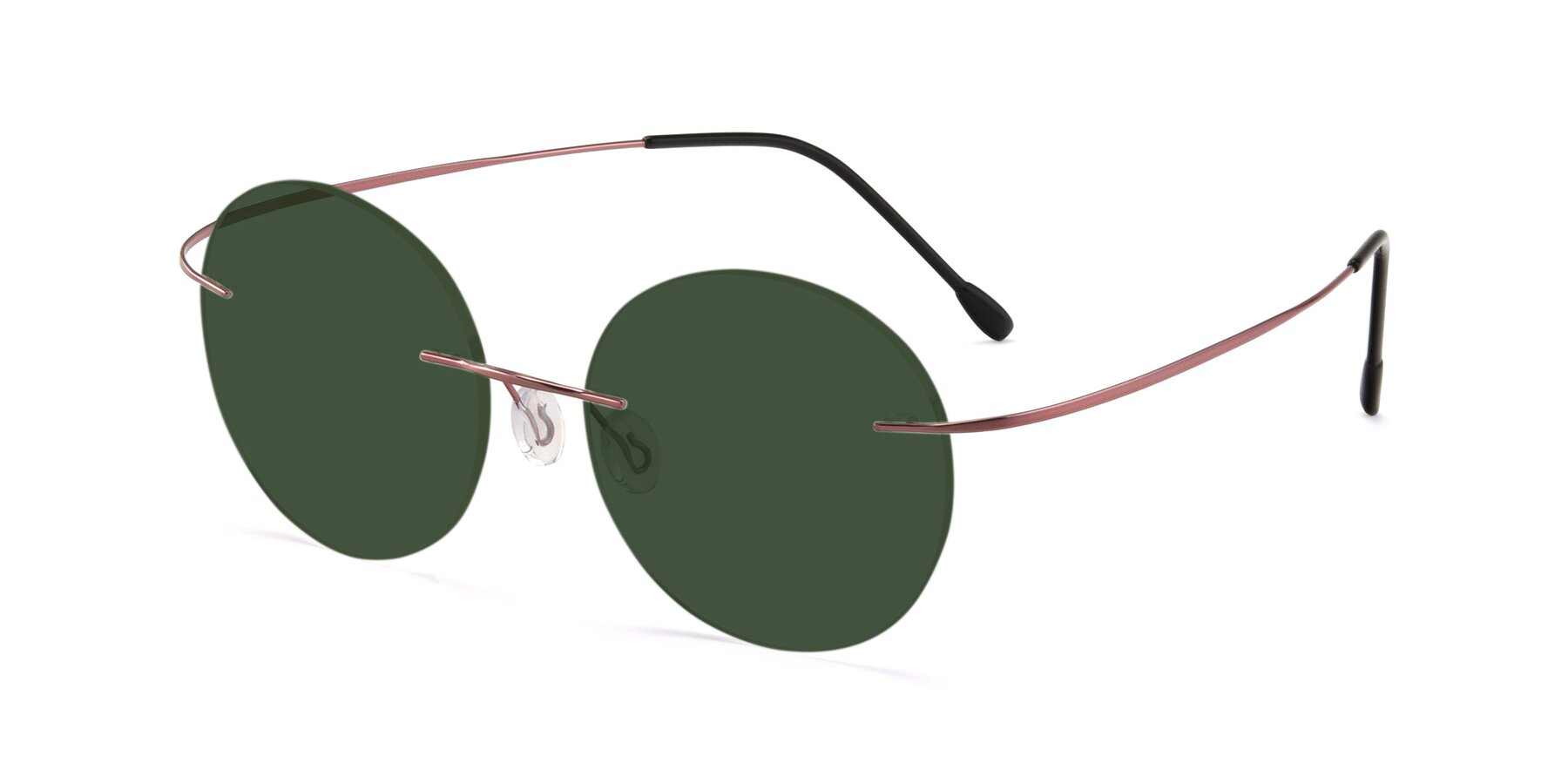 Angle of Leon in Light Pink with Green Tinted Lenses