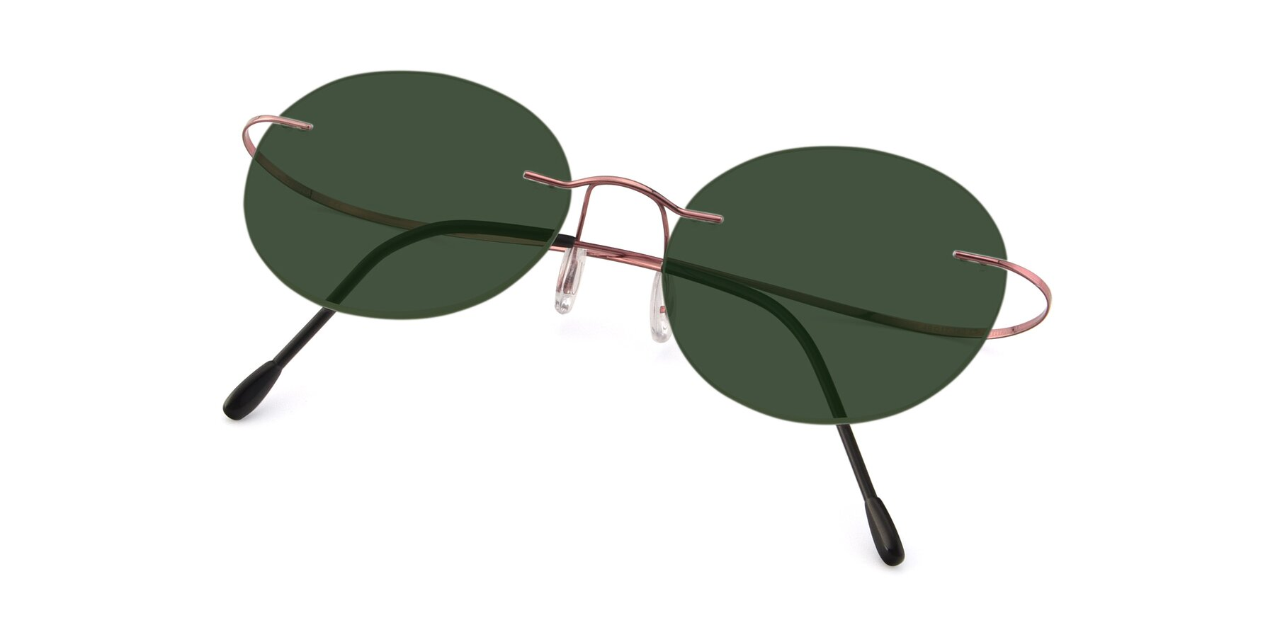 View of Leon in Light Pink with Green Tinted Lenses