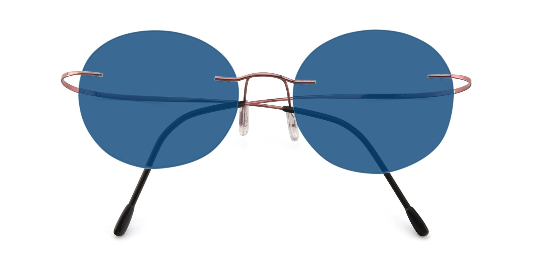 Folded Front of Leon in Light Pink with Blue Tinted Lenses