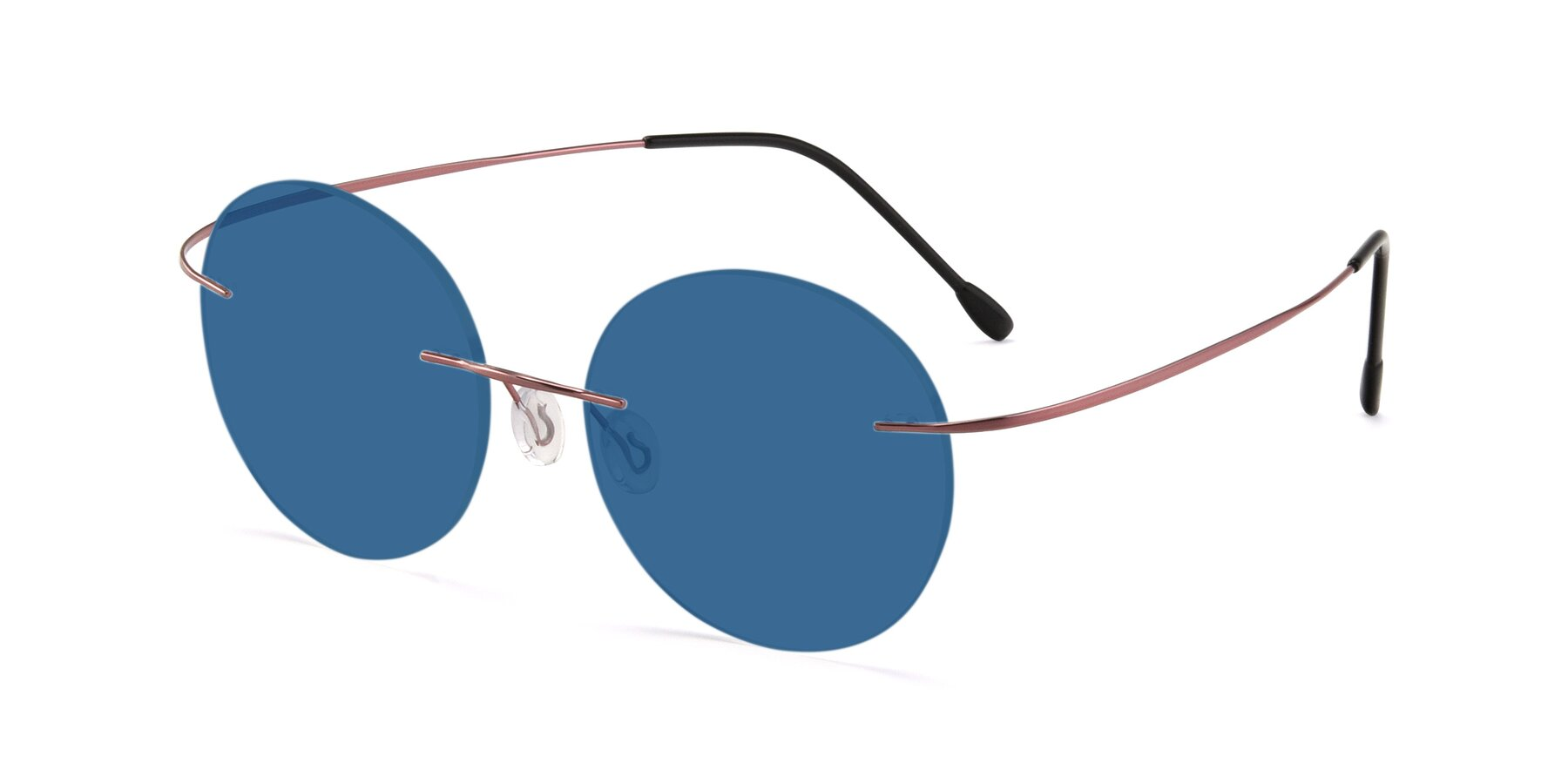 Angle of Leon in Light Pink with Blue Tinted Lenses