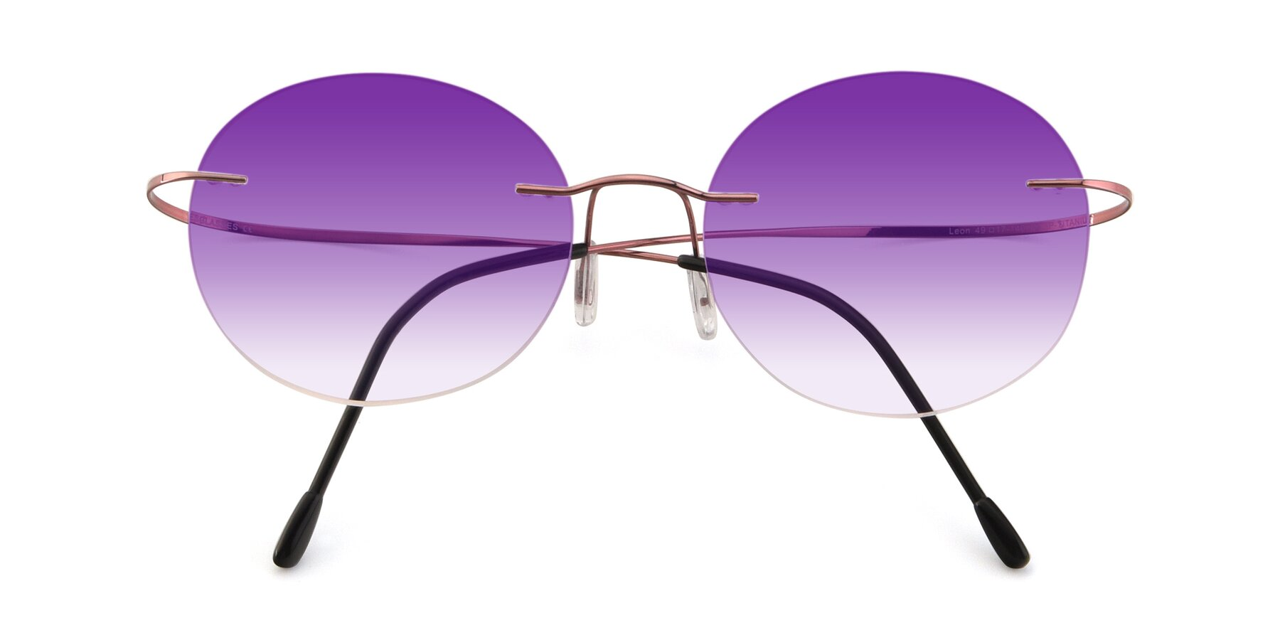 Folded Front of Leon in Light Pink with Purple Gradient Lenses