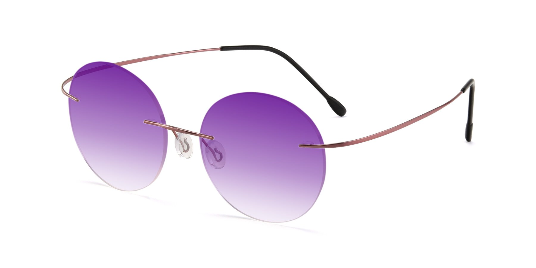 Angle of Leon in Light Pink with Purple Gradient Lenses