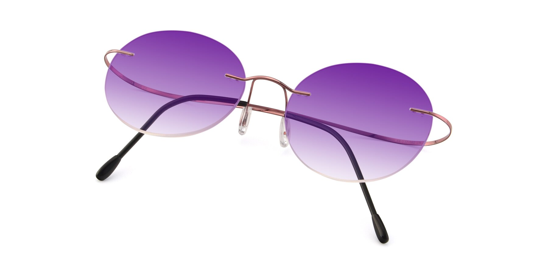 View of Leon in Light Pink with Purple Gradient Lenses