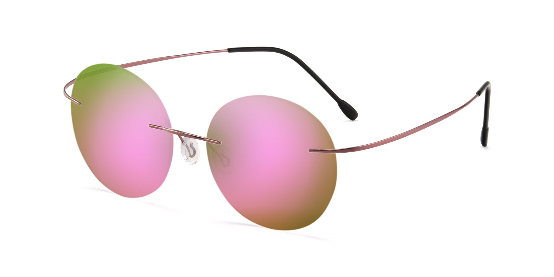 Angle of Leon in Light Pink with Pink Mirrored Lenses