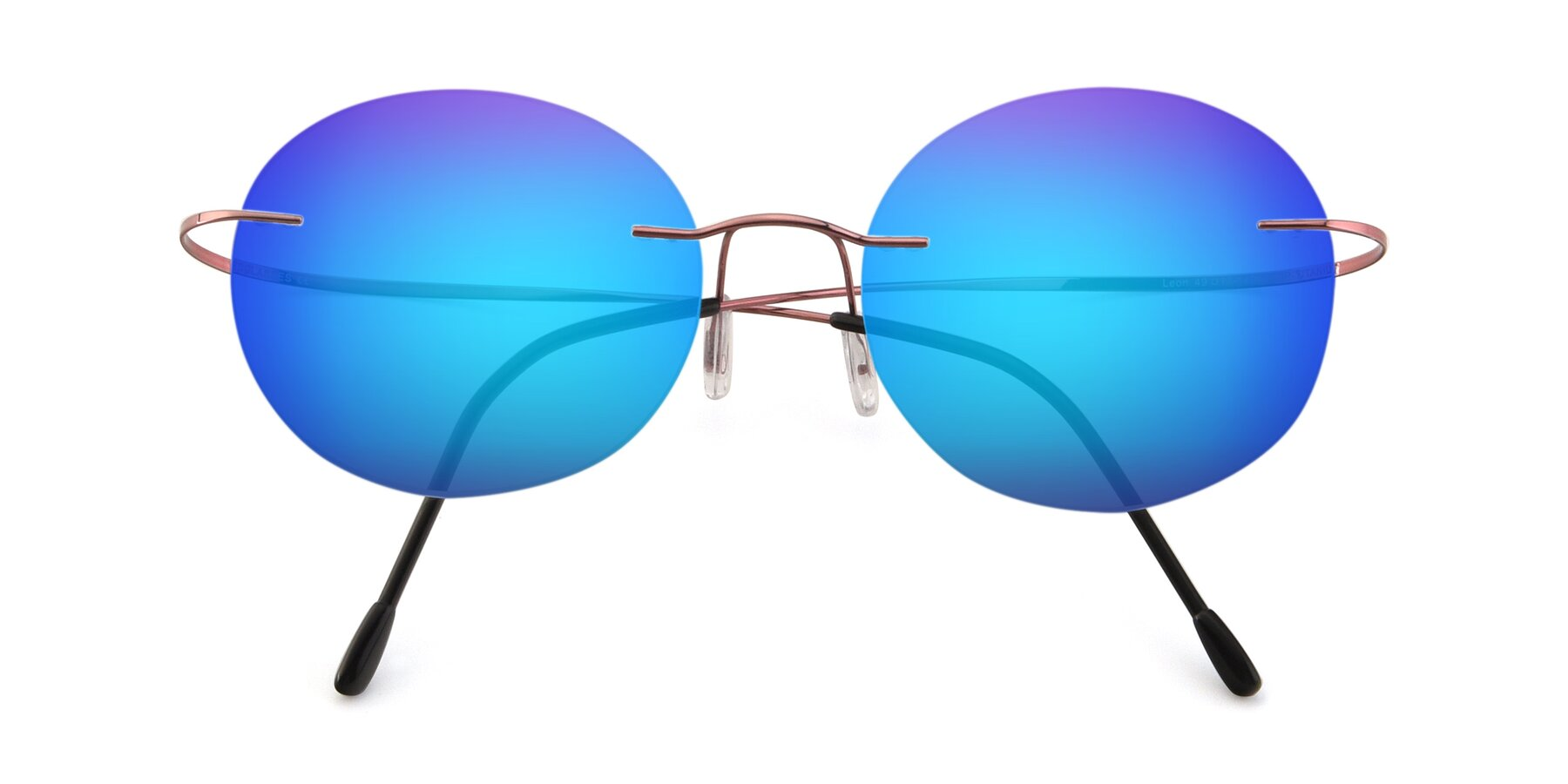 Folded Front of Leon in Light Pink with Blue Mirrored Lenses