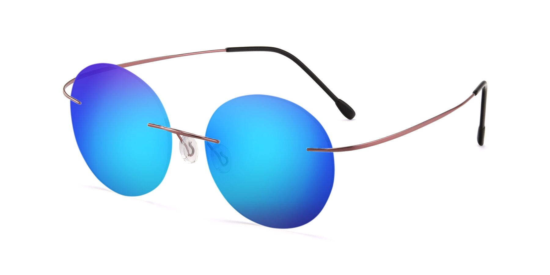 Angle of Leon in Light Pink with Blue Mirrored Lenses