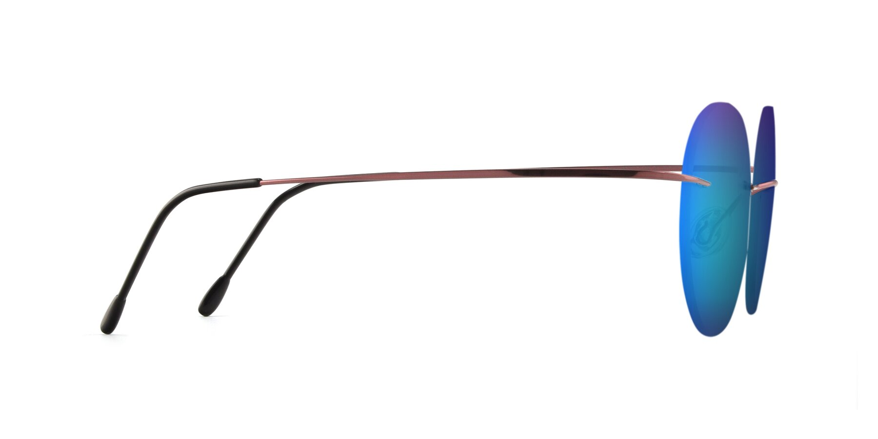 Side of Leon in Light Pink with Blue Mirrored Lenses