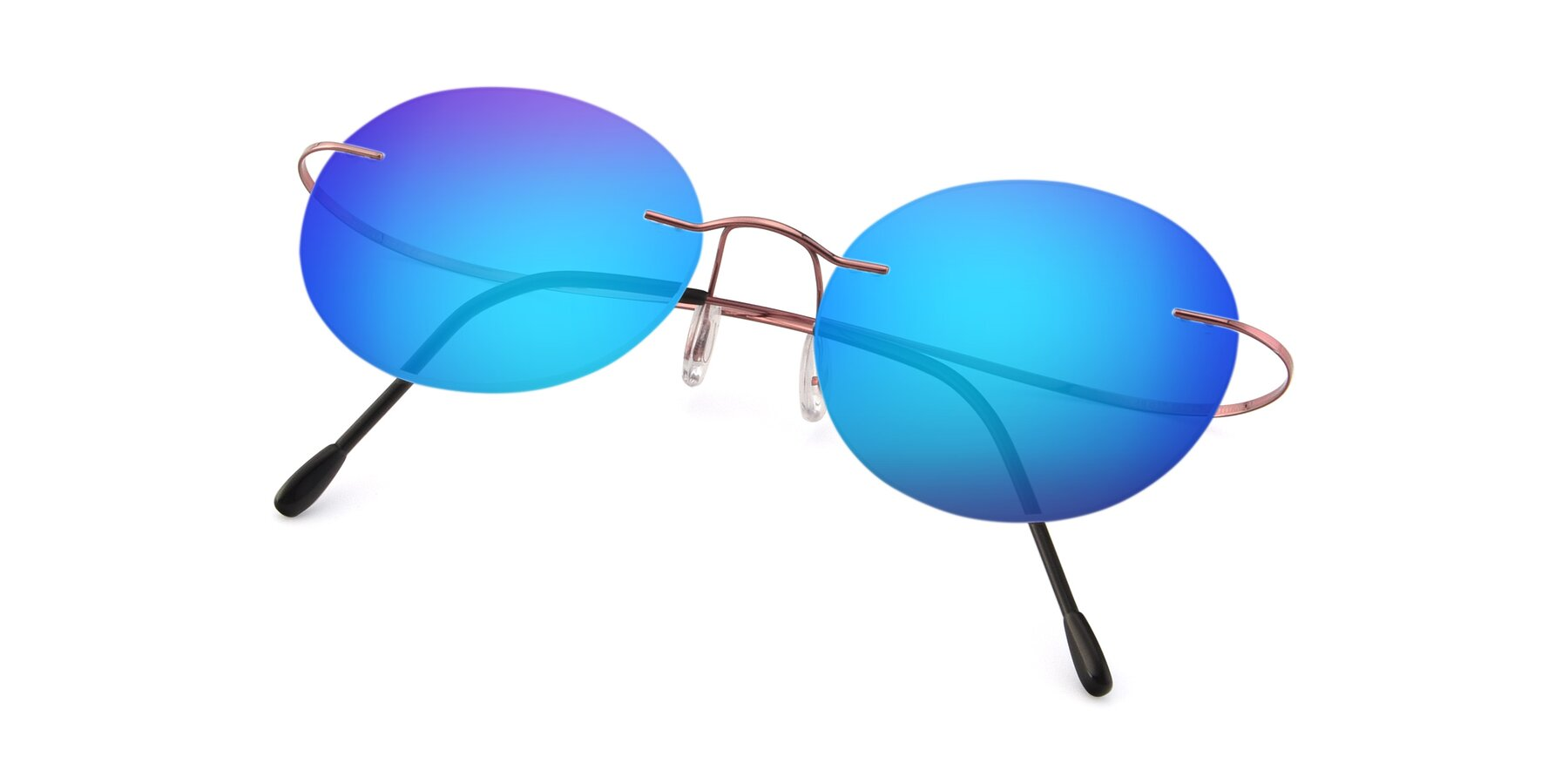 View of Leon in Light Pink with Blue Mirrored Lenses