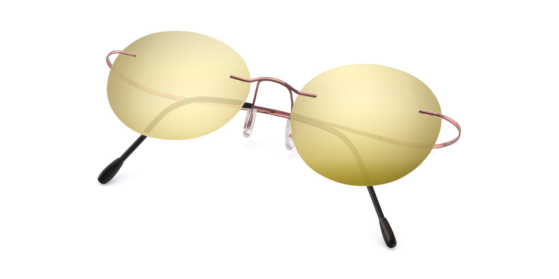 View of Leon in Light Pink with Gold Mirrored Lenses