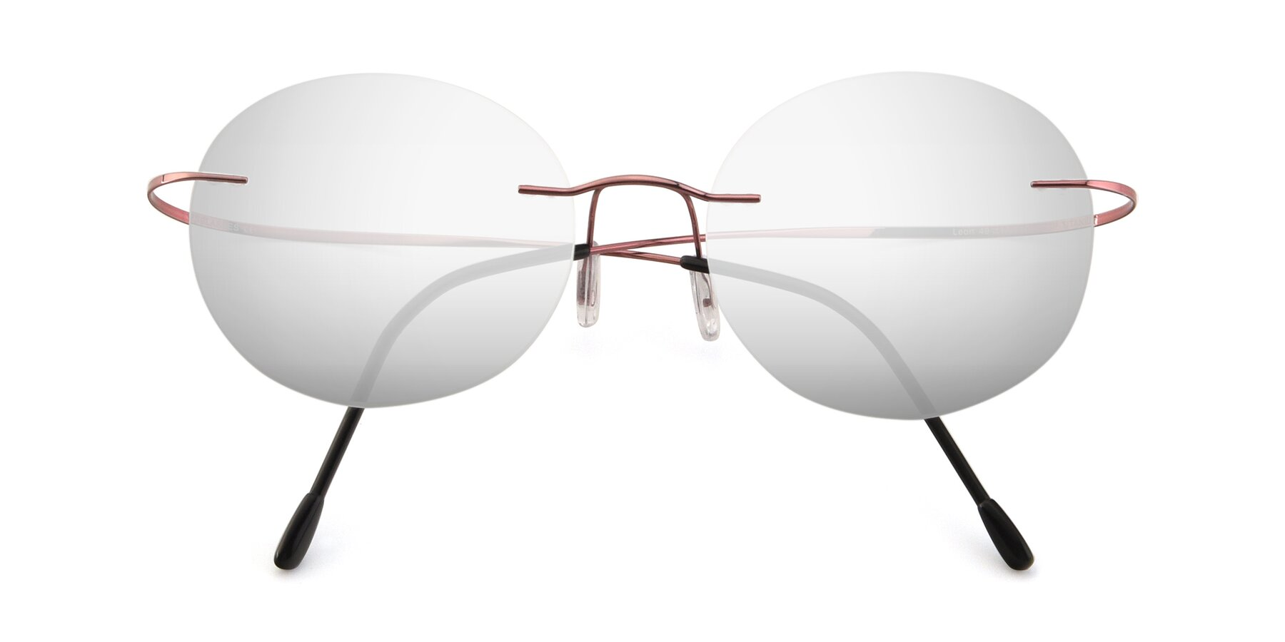 Folded Front of Leon in Light Pink with Silver Mirrored Lenses