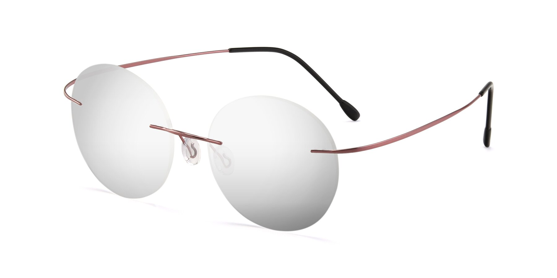 Angle of Leon in Light Pink with Silver Mirrored Lenses
