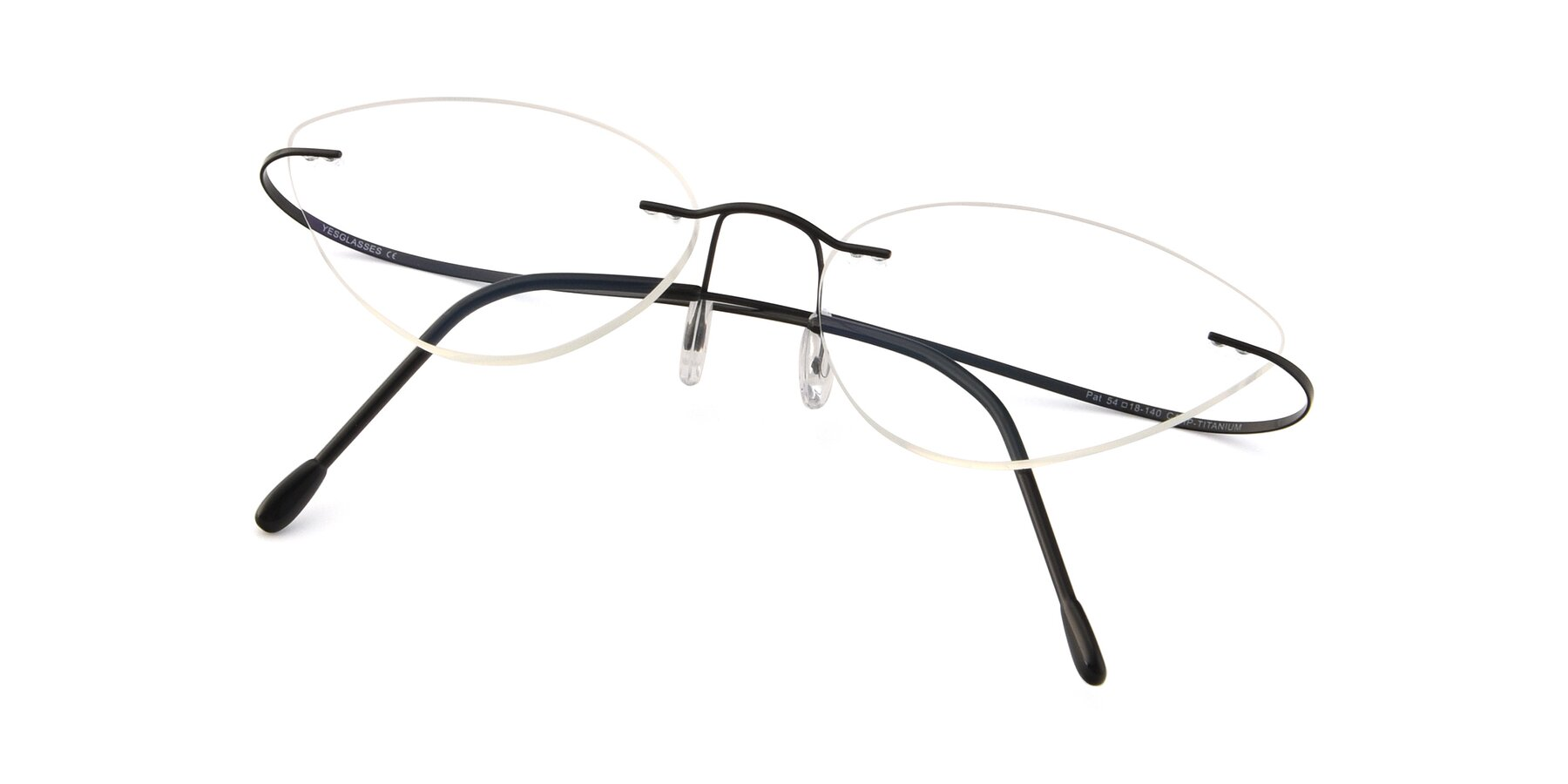 View of Pat in Black with Clear Eyeglass Lenses