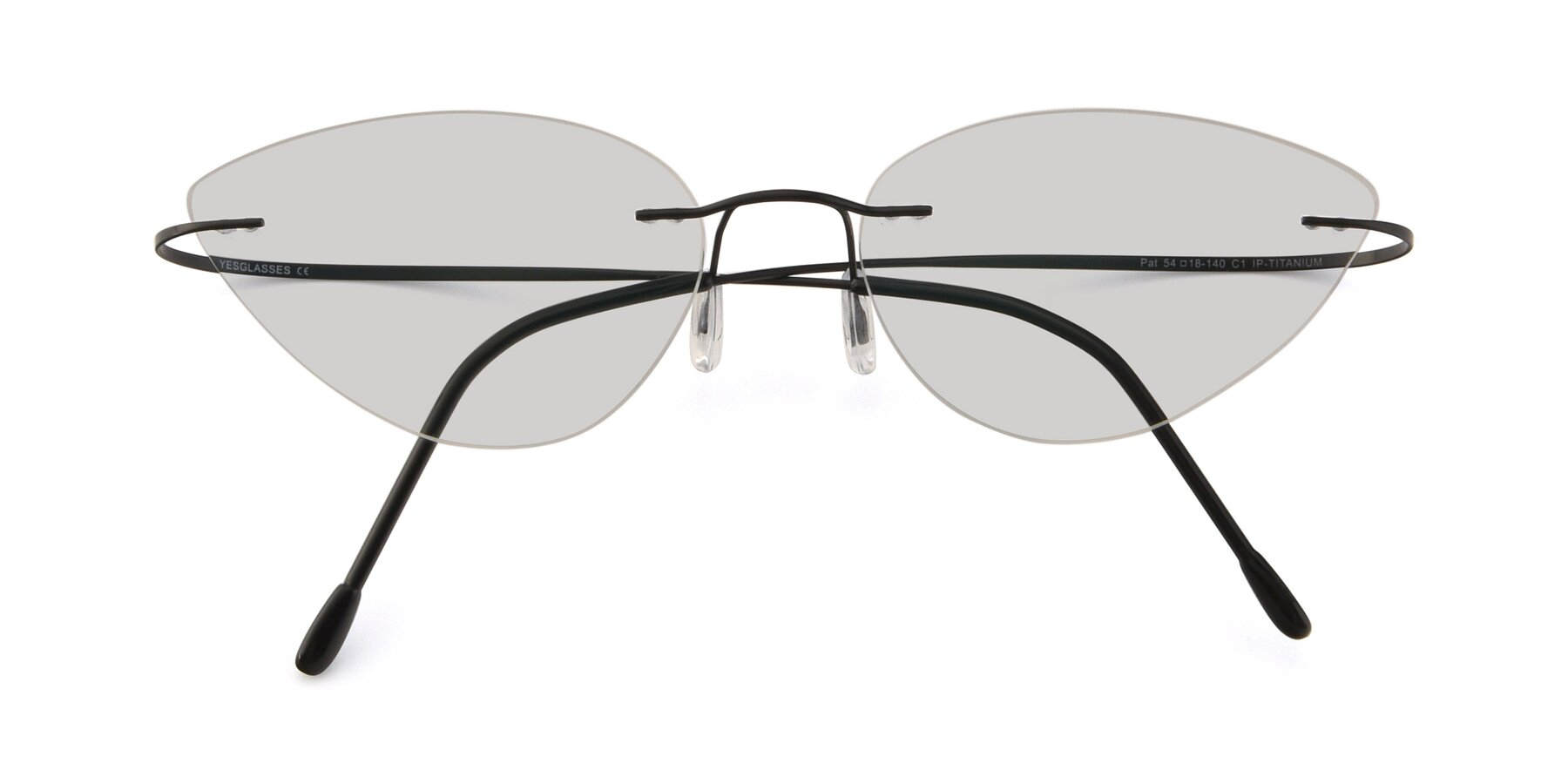 Folded Front of Pat in Black with Light Gray Tinted Lenses