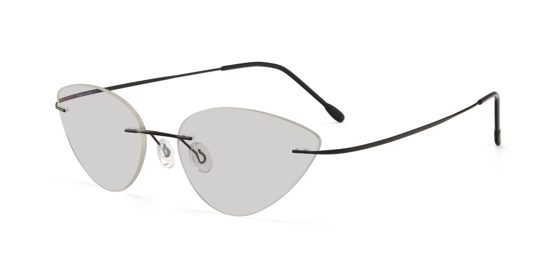 Angle of Pat in Black with Light Gray Tinted Lenses