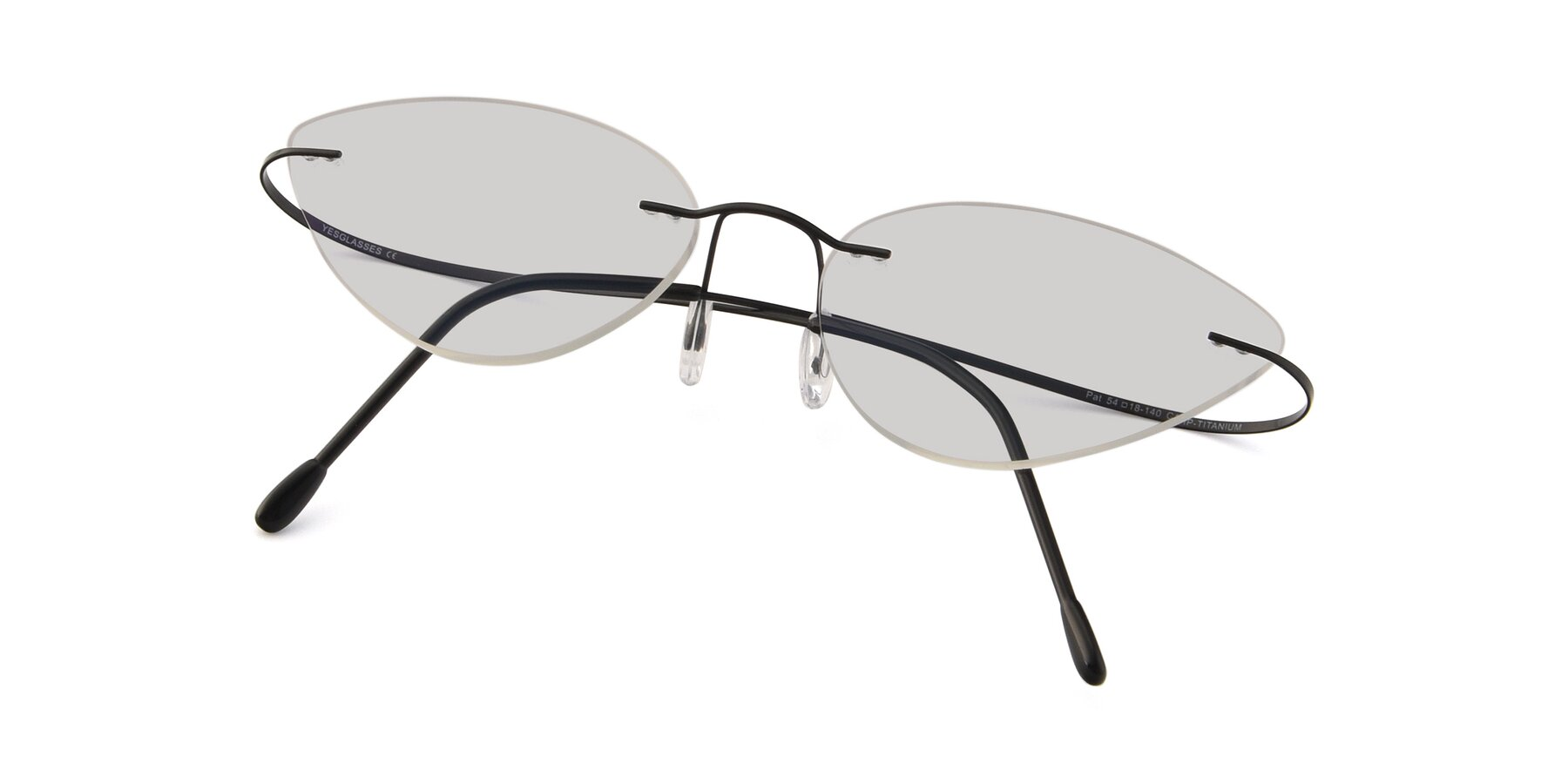 View of Pat in Black with Light Gray Tinted Lenses