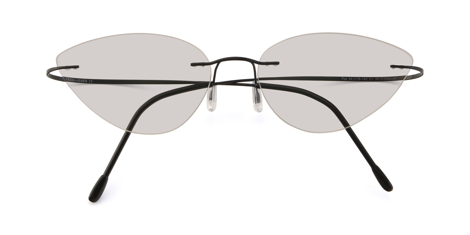 Folded Front of Pat in Black with Light Brown Tinted Lenses