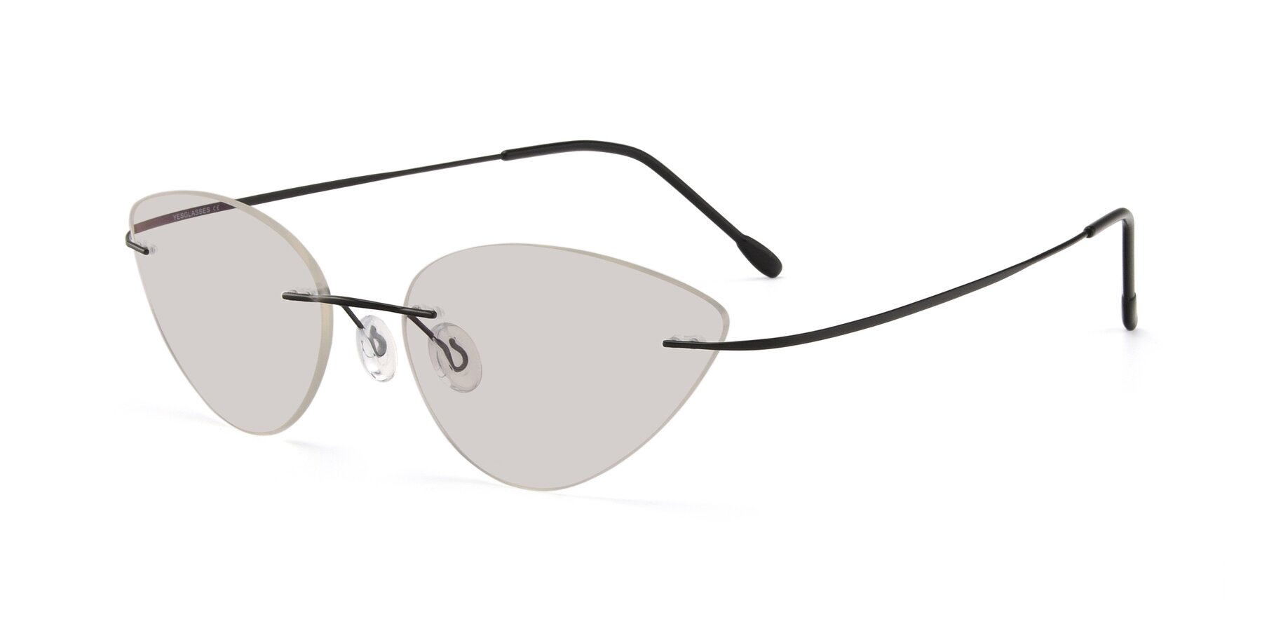 Angle of Pat in Black with Light Brown Tinted Lenses