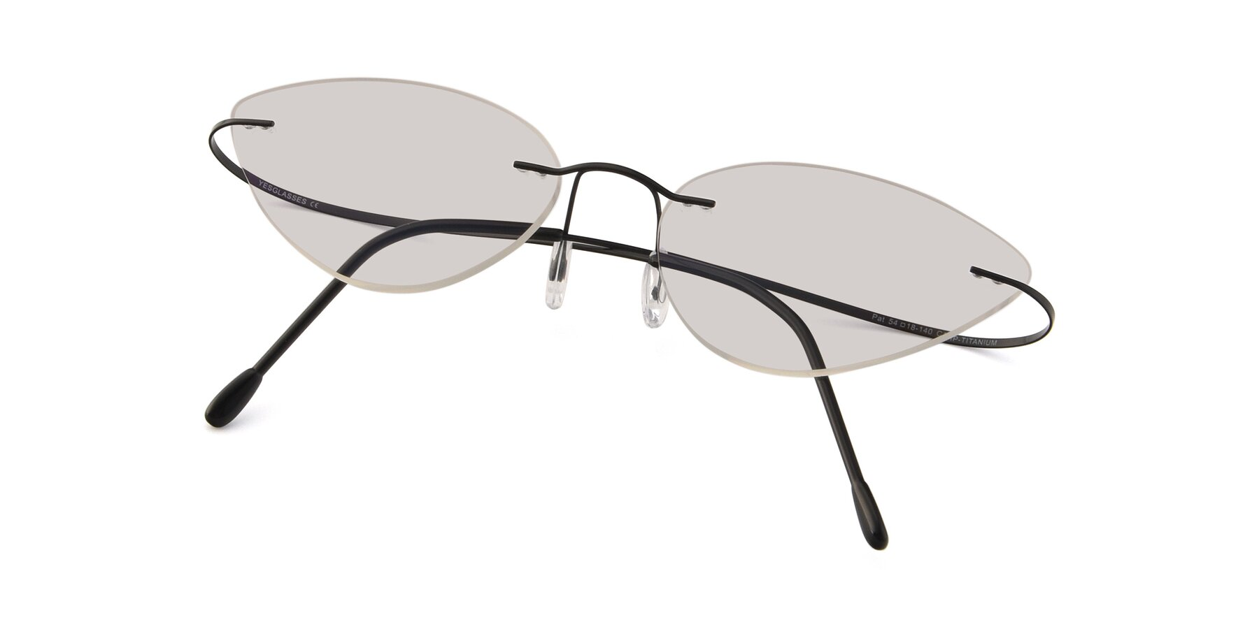View of Pat in Black with Light Brown Tinted Lenses