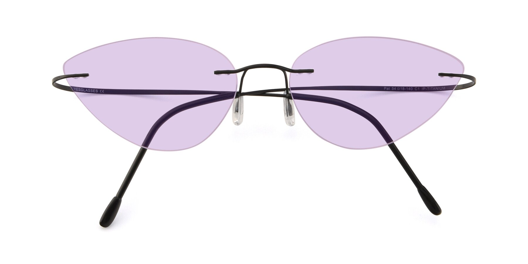 Folded Front of Pat in Black with Light Purple Tinted Lenses