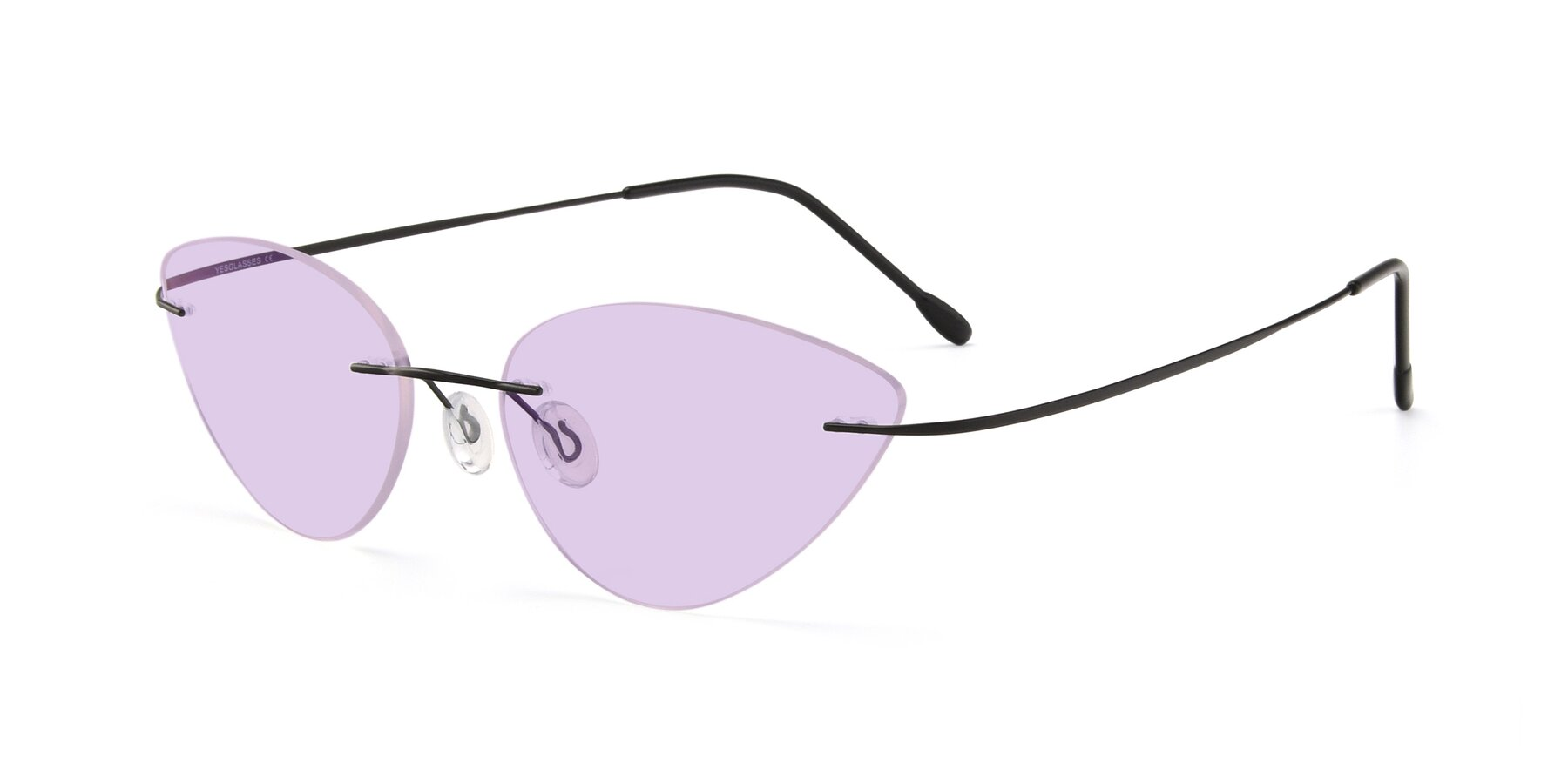 Angle of Pat in Black with Light Purple Tinted Lenses