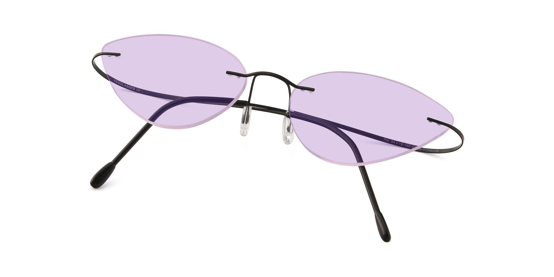 View of Pat in Black with Light Purple Tinted Lenses