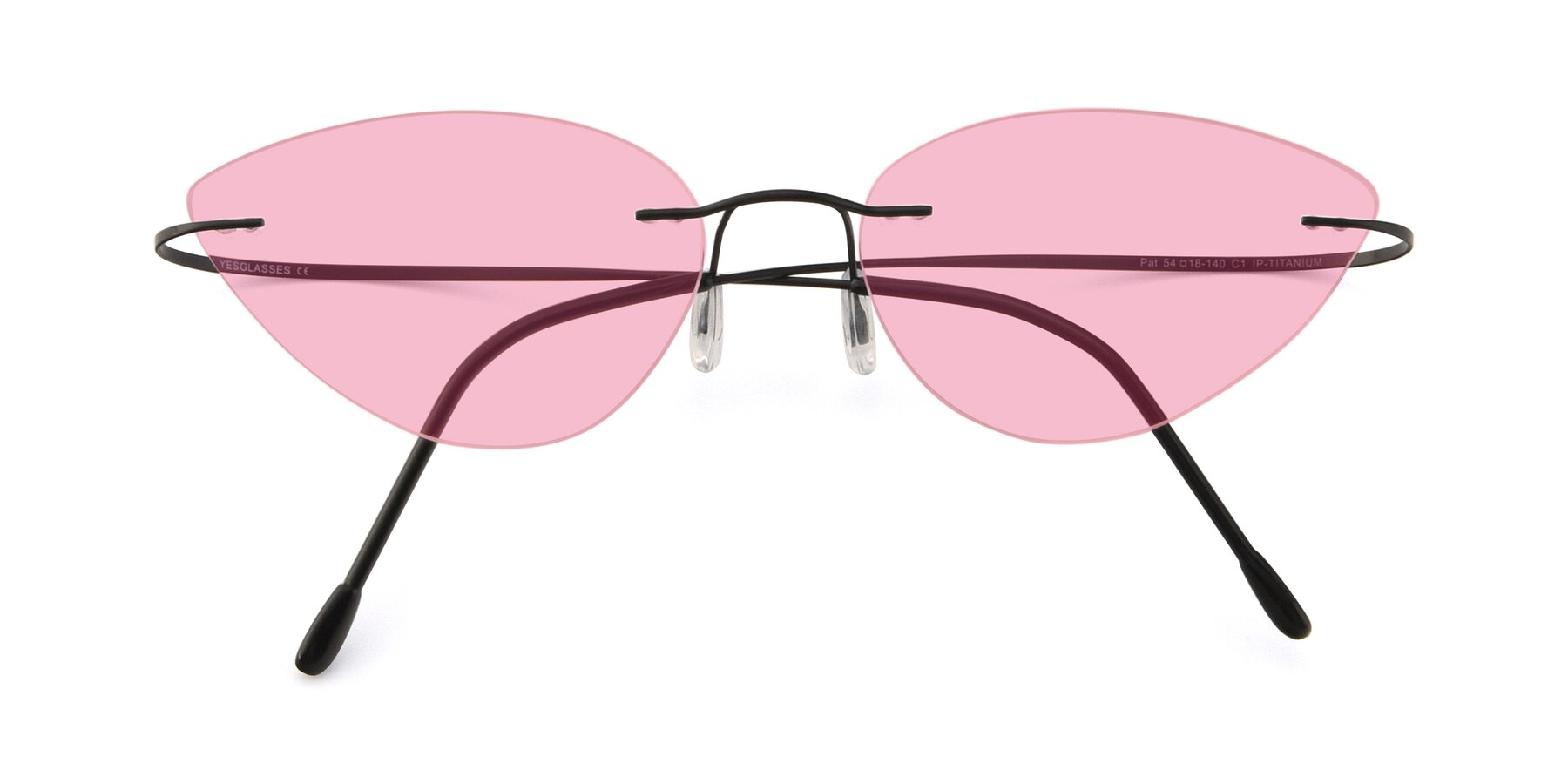 Folded Front of Pat in Black with Medium Pink Tinted Lenses