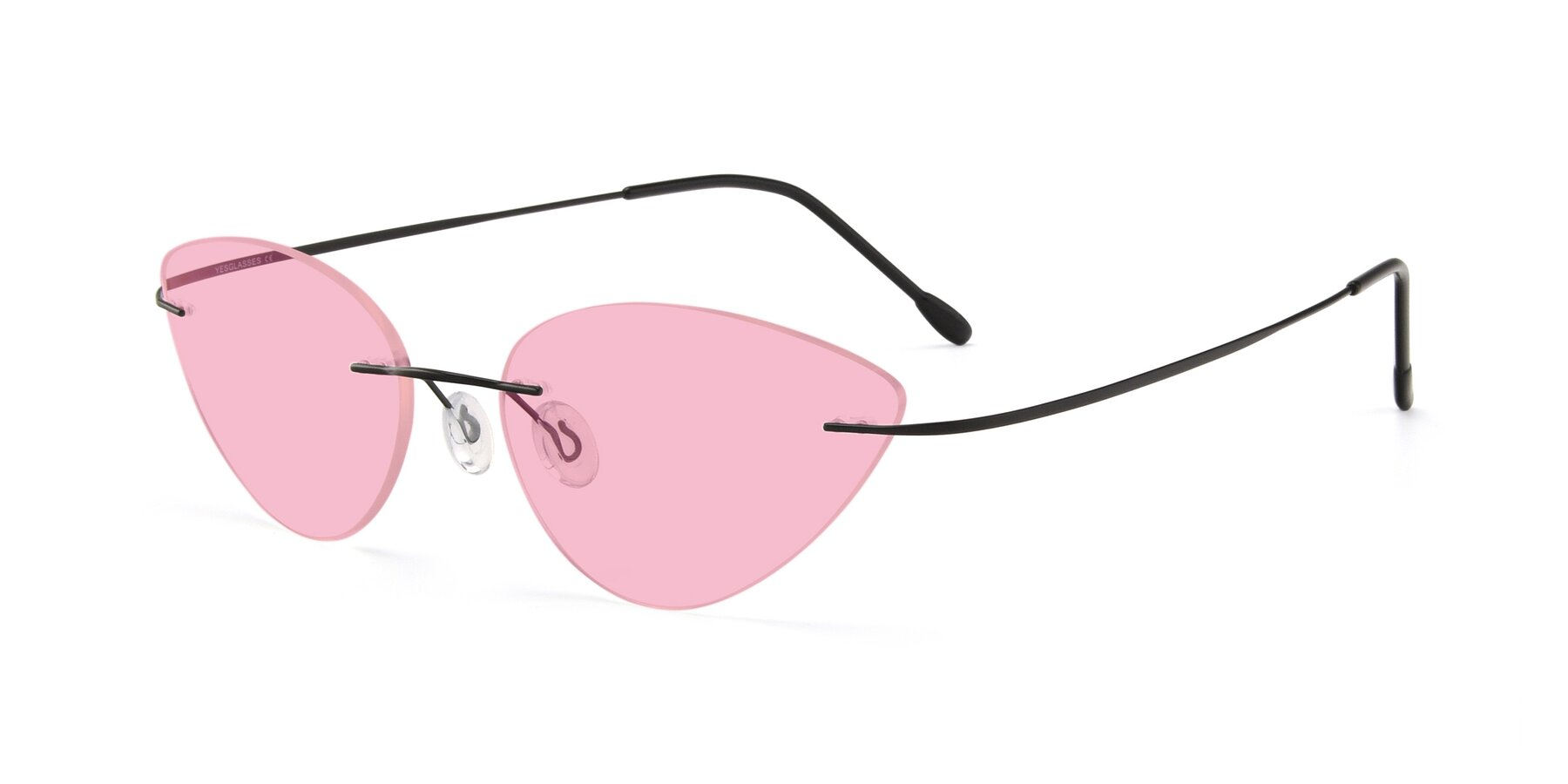 Angle of Pat in Black with Medium Pink Tinted Lenses