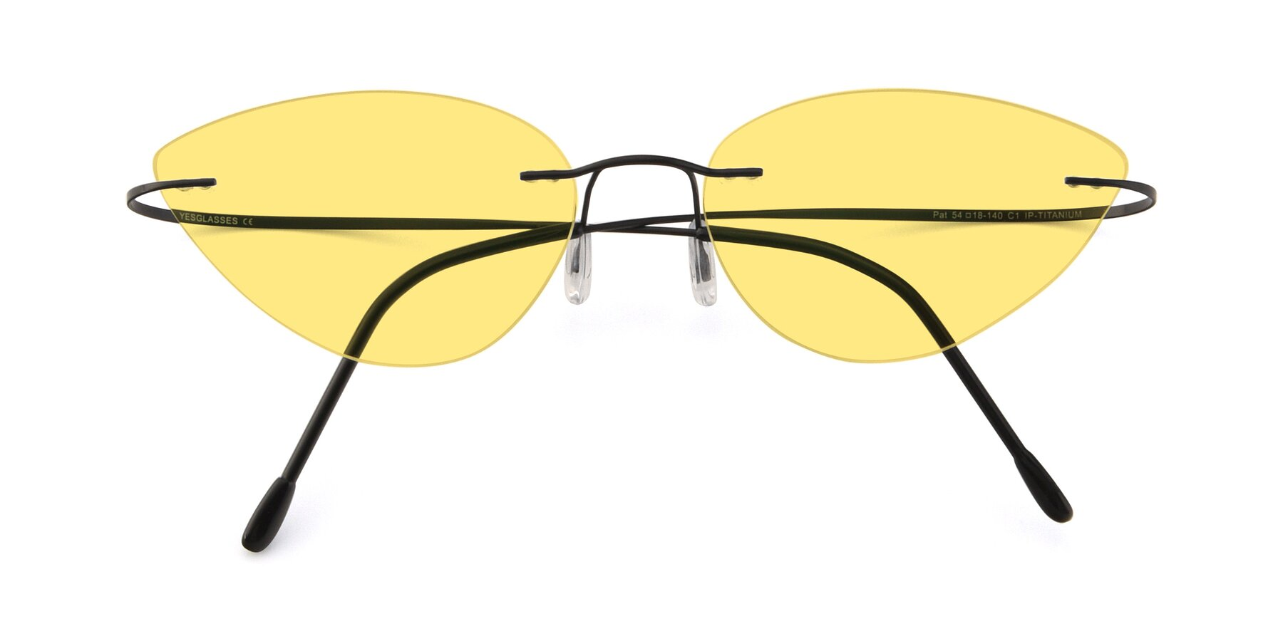 Folded Front of Pat in Black with Medium Yellow Tinted Lenses