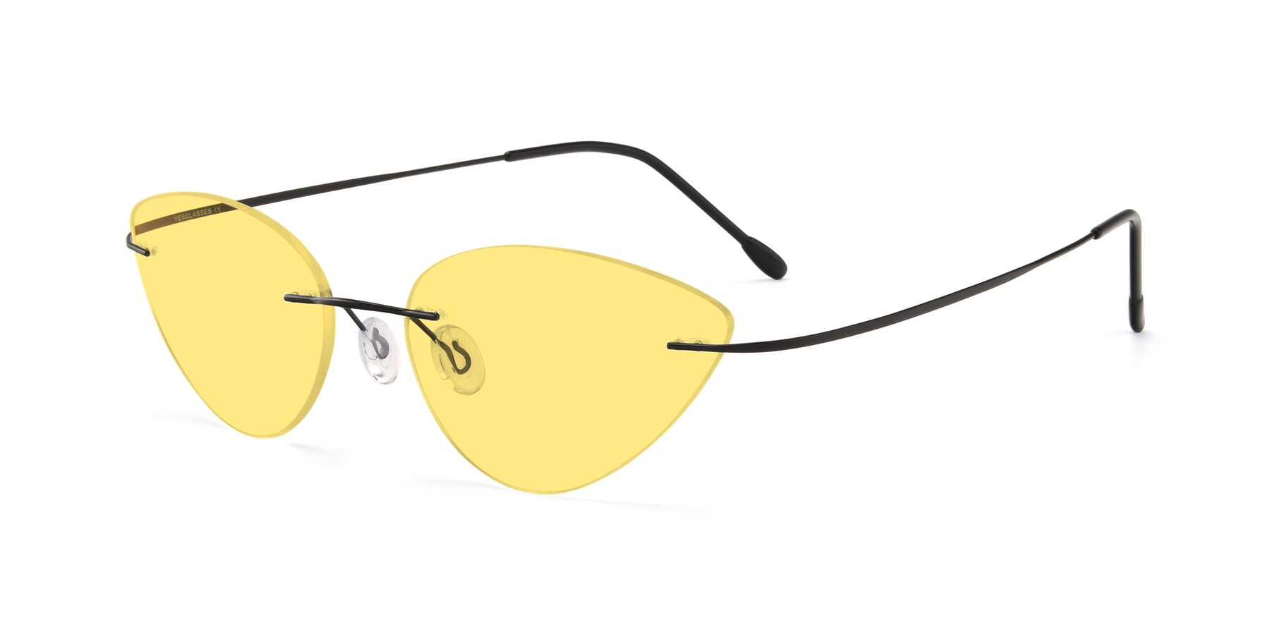 Angle of Pat in Black with Medium Yellow Tinted Lenses