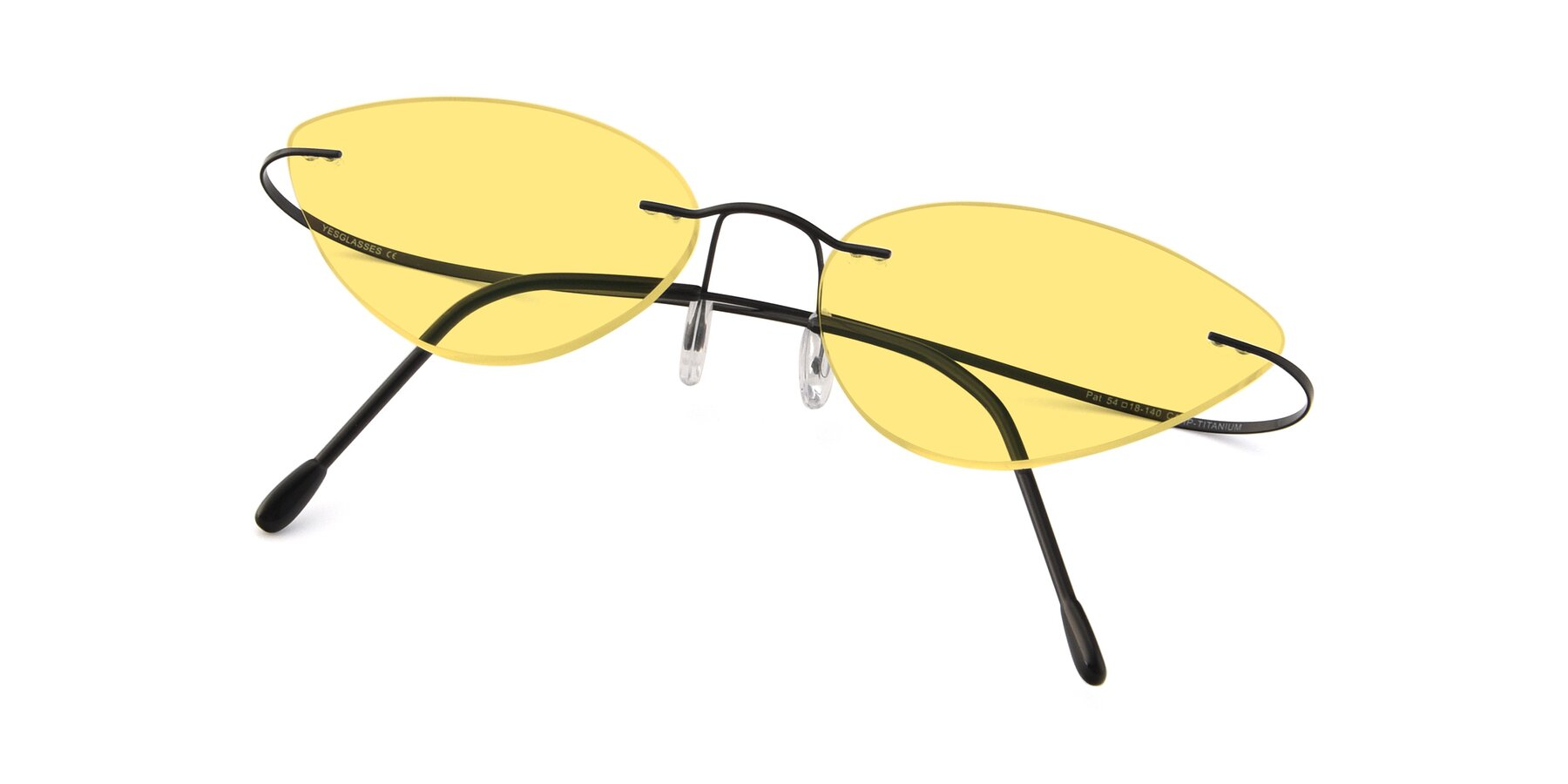 View of Pat in Black with Medium Yellow Tinted Lenses