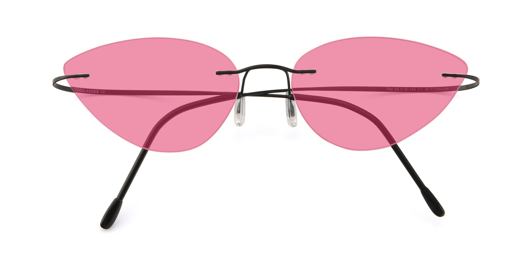 Folded Front of Pat in Black with Pink Tinted Lenses