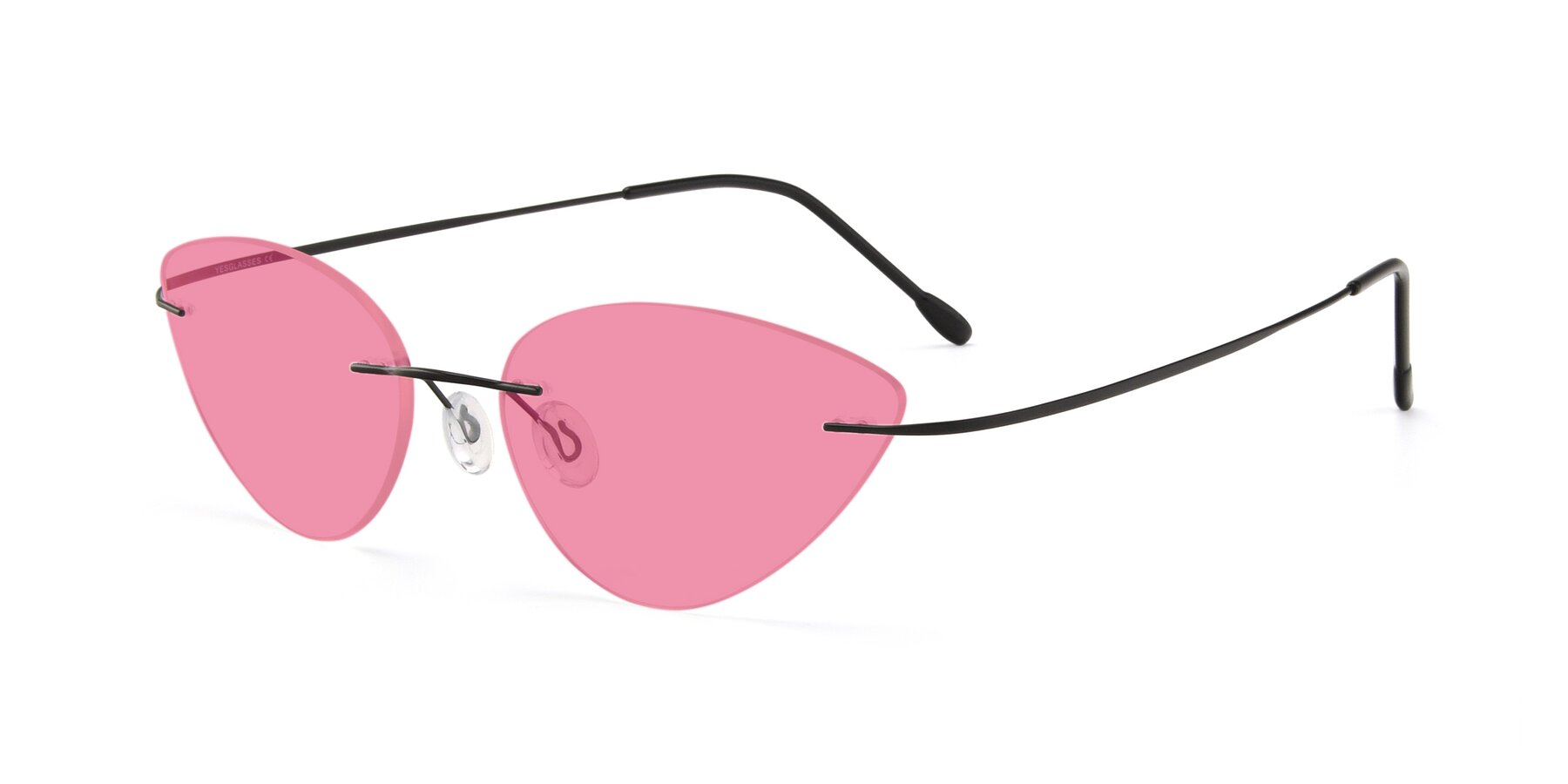 Angle of Pat in Black with Pink Tinted Lenses