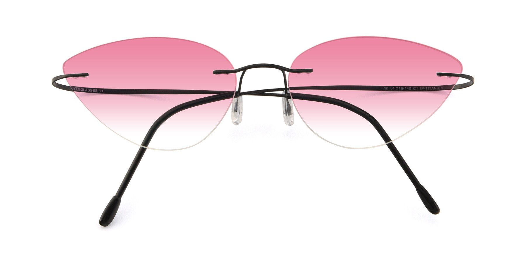 Folded Front of Pat in Black with Pink Gradient Lenses