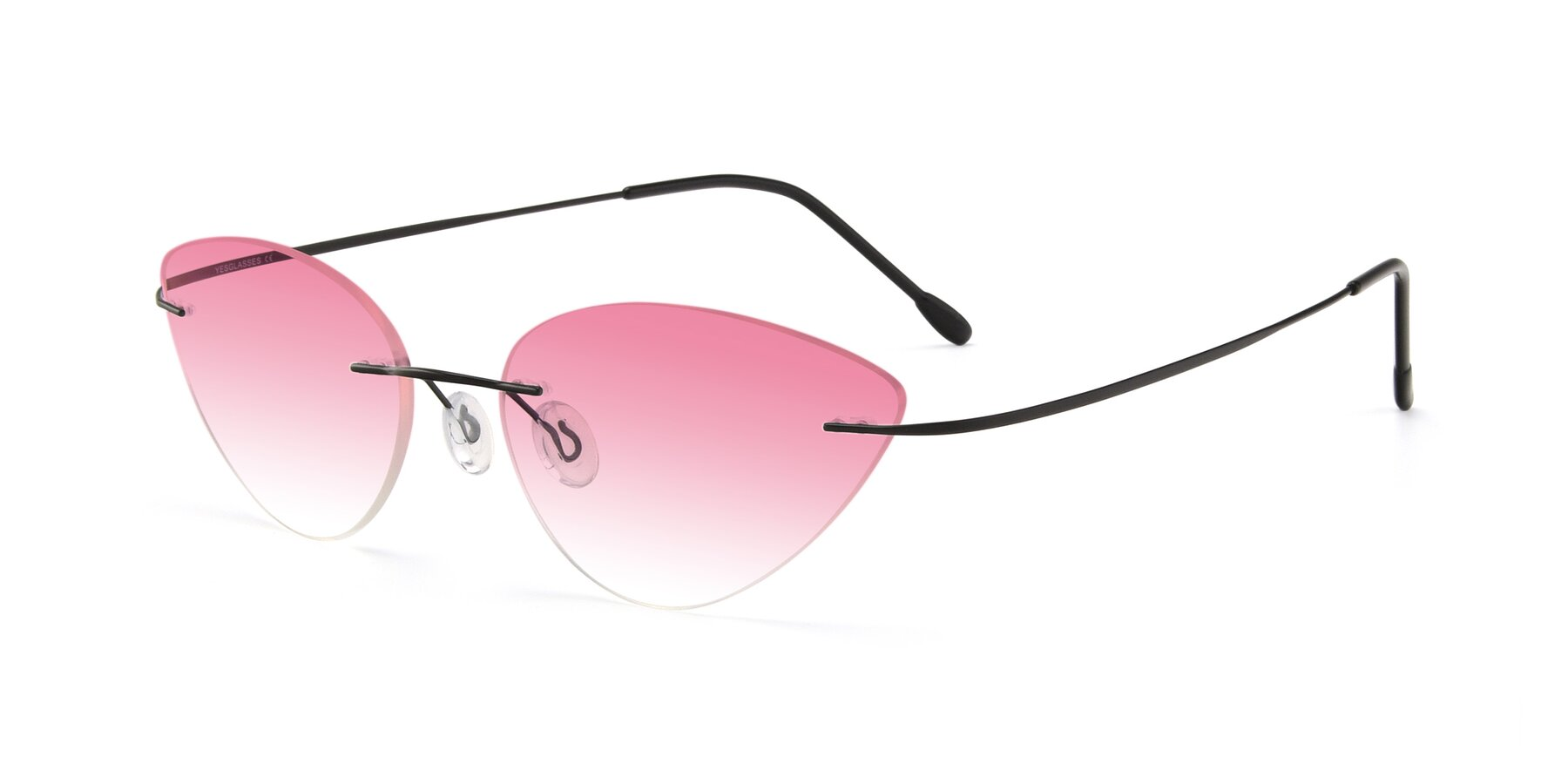 Angle of Pat in Black with Pink Gradient Lenses