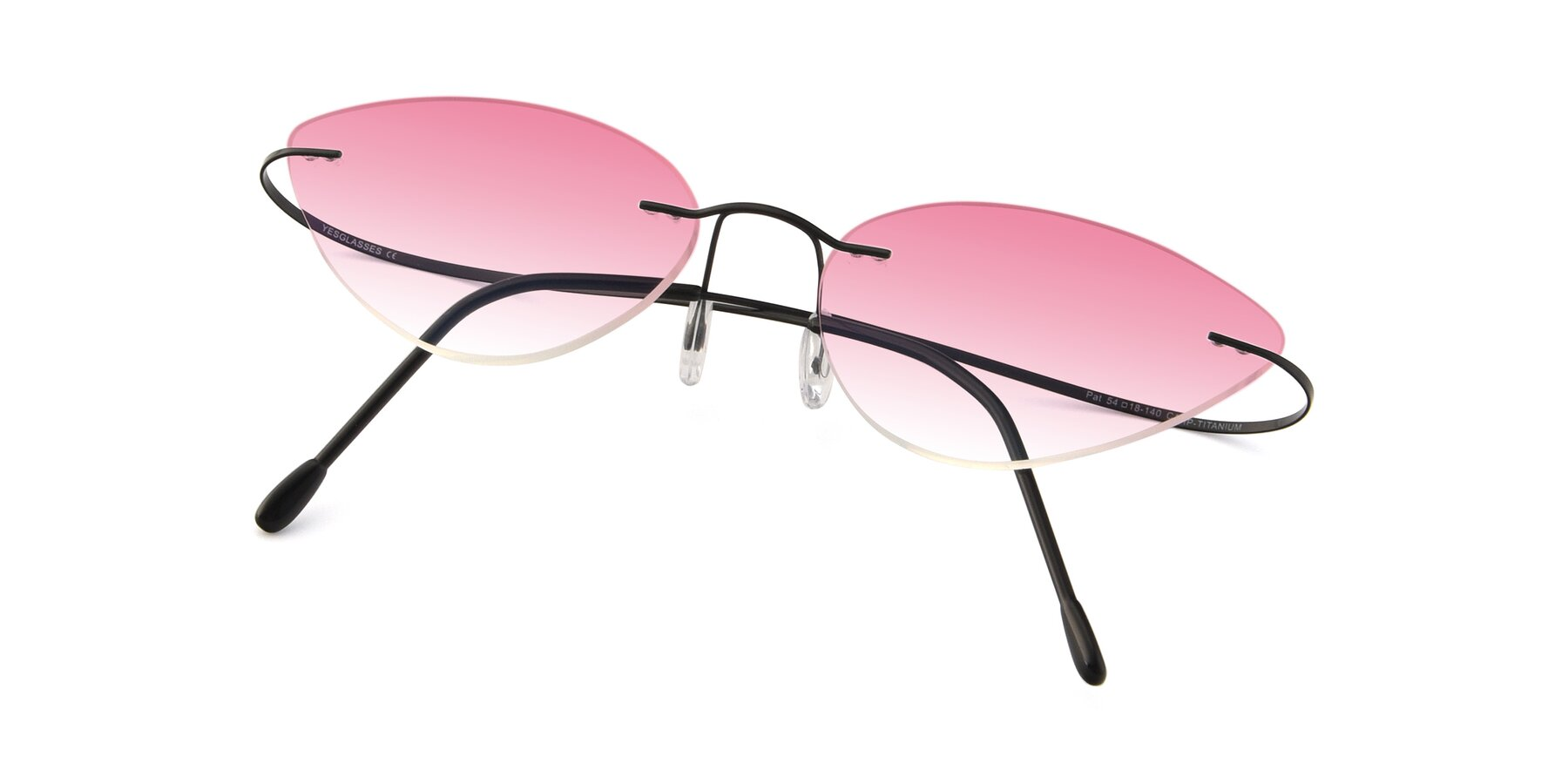 View of Pat in Black with Pink Gradient Lenses