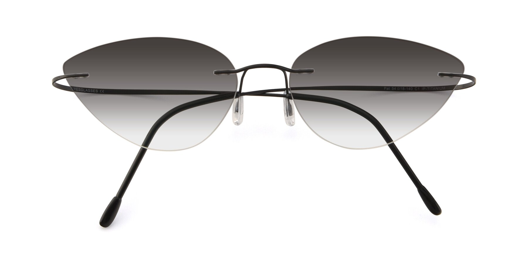 Folded Front of Pat in Black with Gray Gradient Lenses