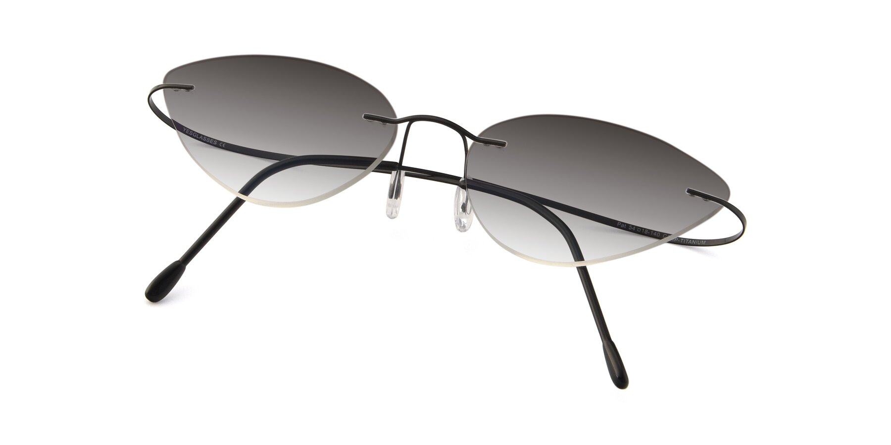 View of Pat in Black with Gray Gradient Lenses