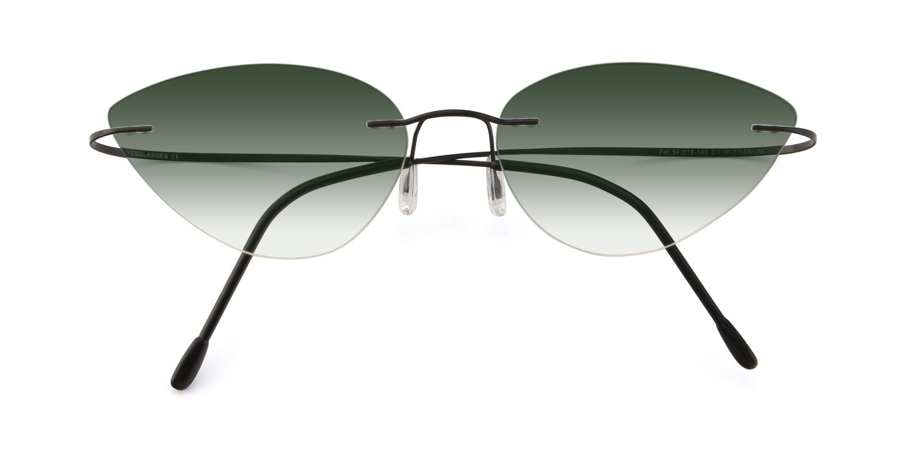 Folded Front of Pat in Black with Green Gradient Lenses