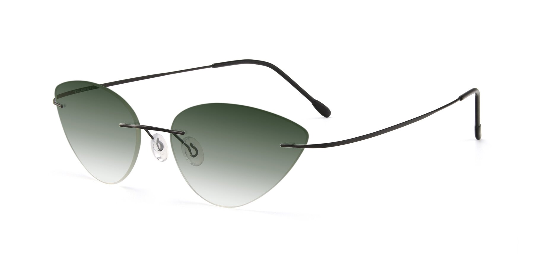 Angle of Pat in Black with Green Gradient Lenses