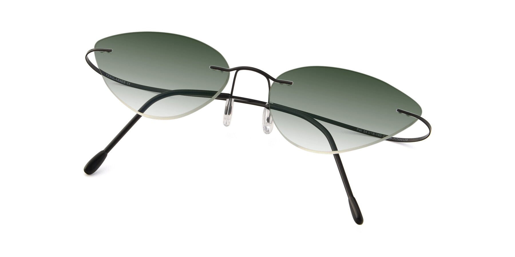 View of Pat in Black with Green Gradient Lenses