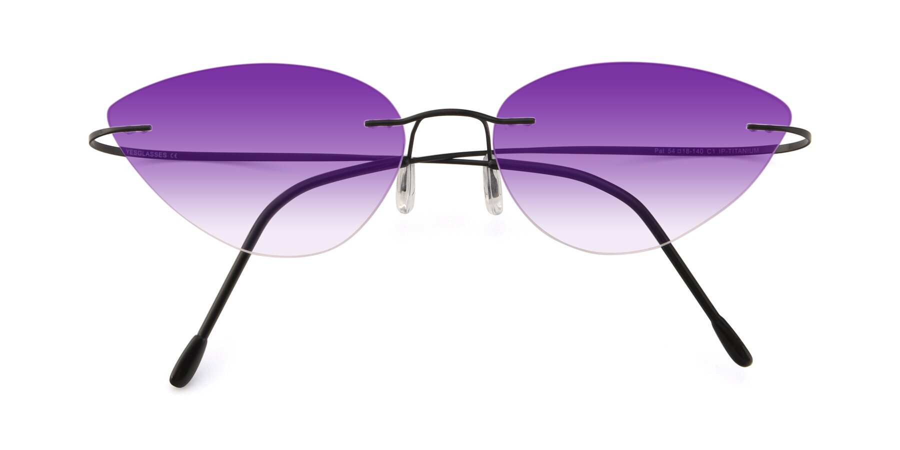 Folded Front of Pat in Black with Purple Gradient Lenses