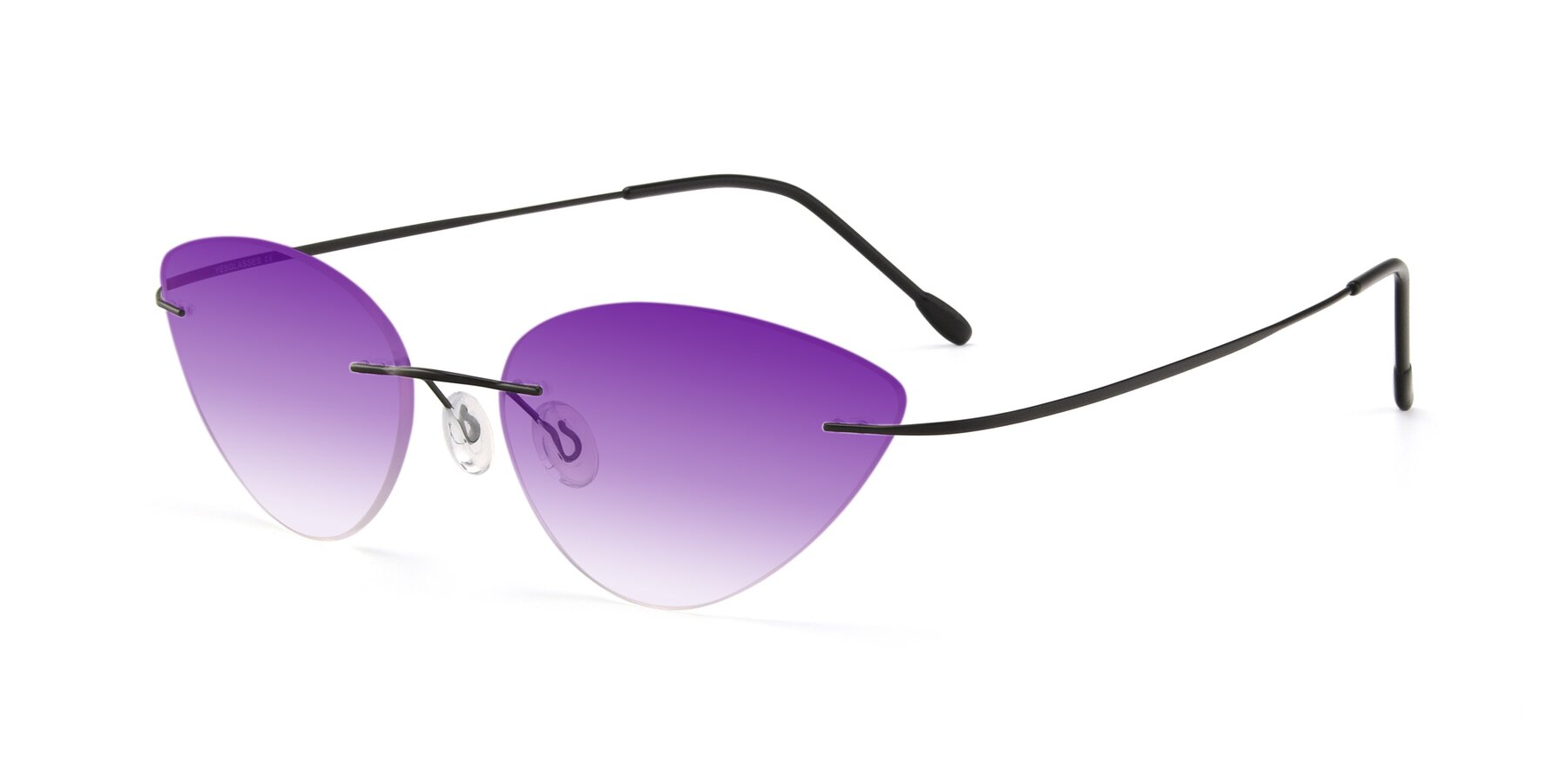 Angle of Pat in Black with Purple Gradient Lenses