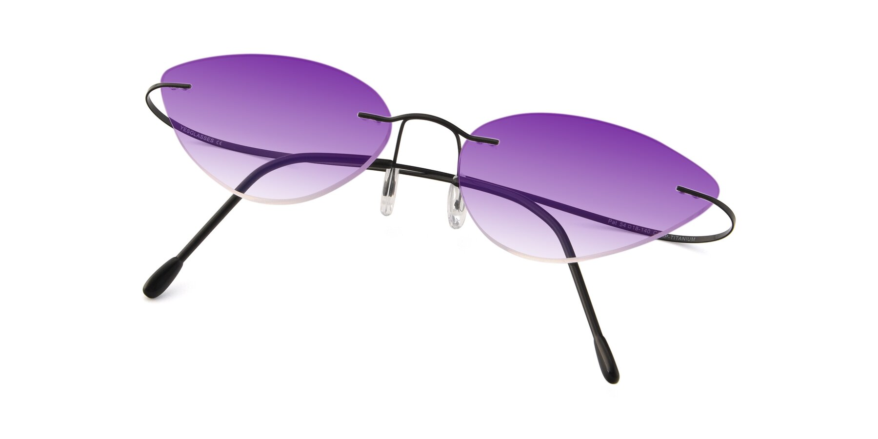 View of Pat in Black with Purple Gradient Lenses
