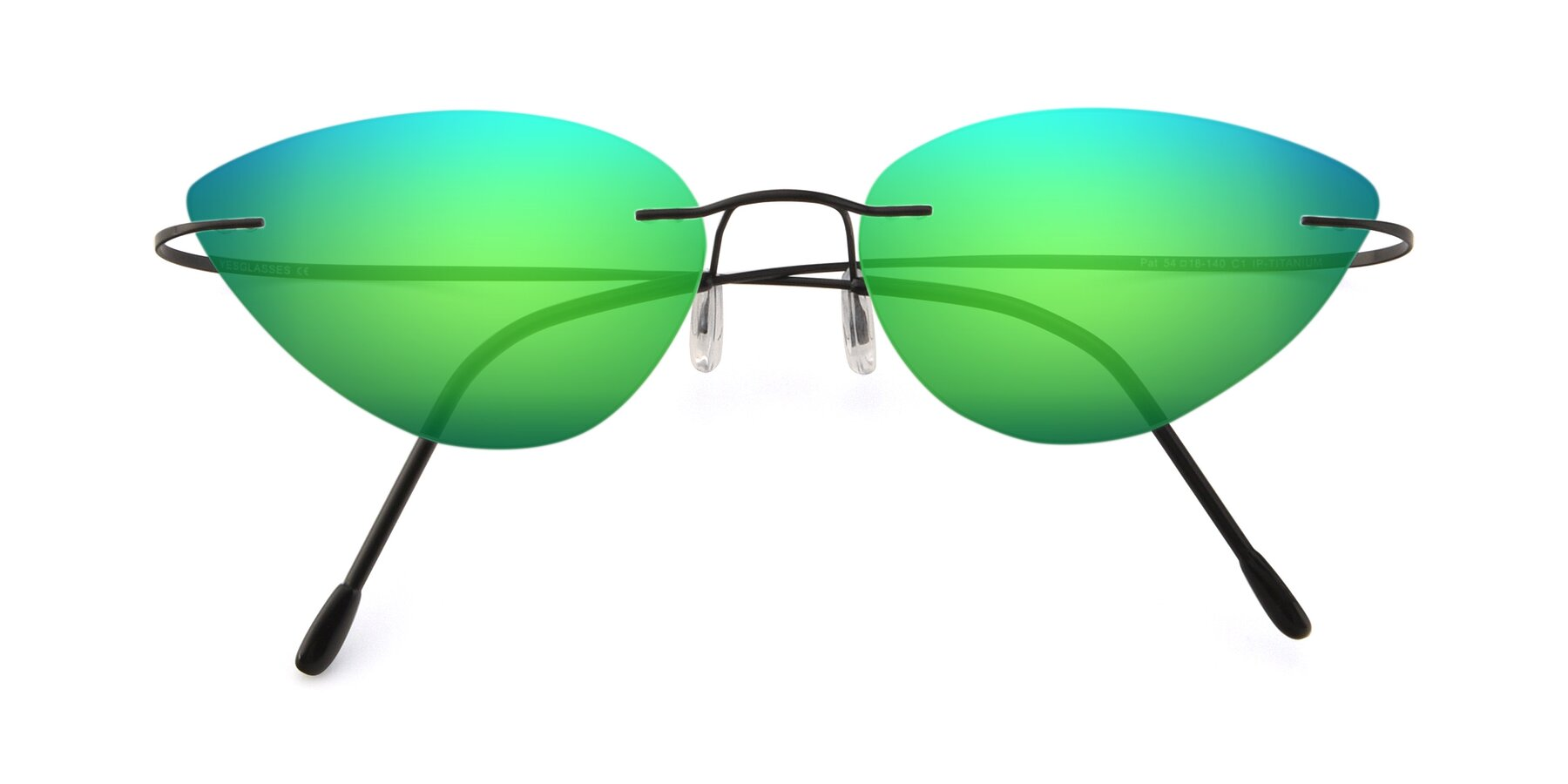 Folded Front of Pat in Black with Green Mirrored Lenses