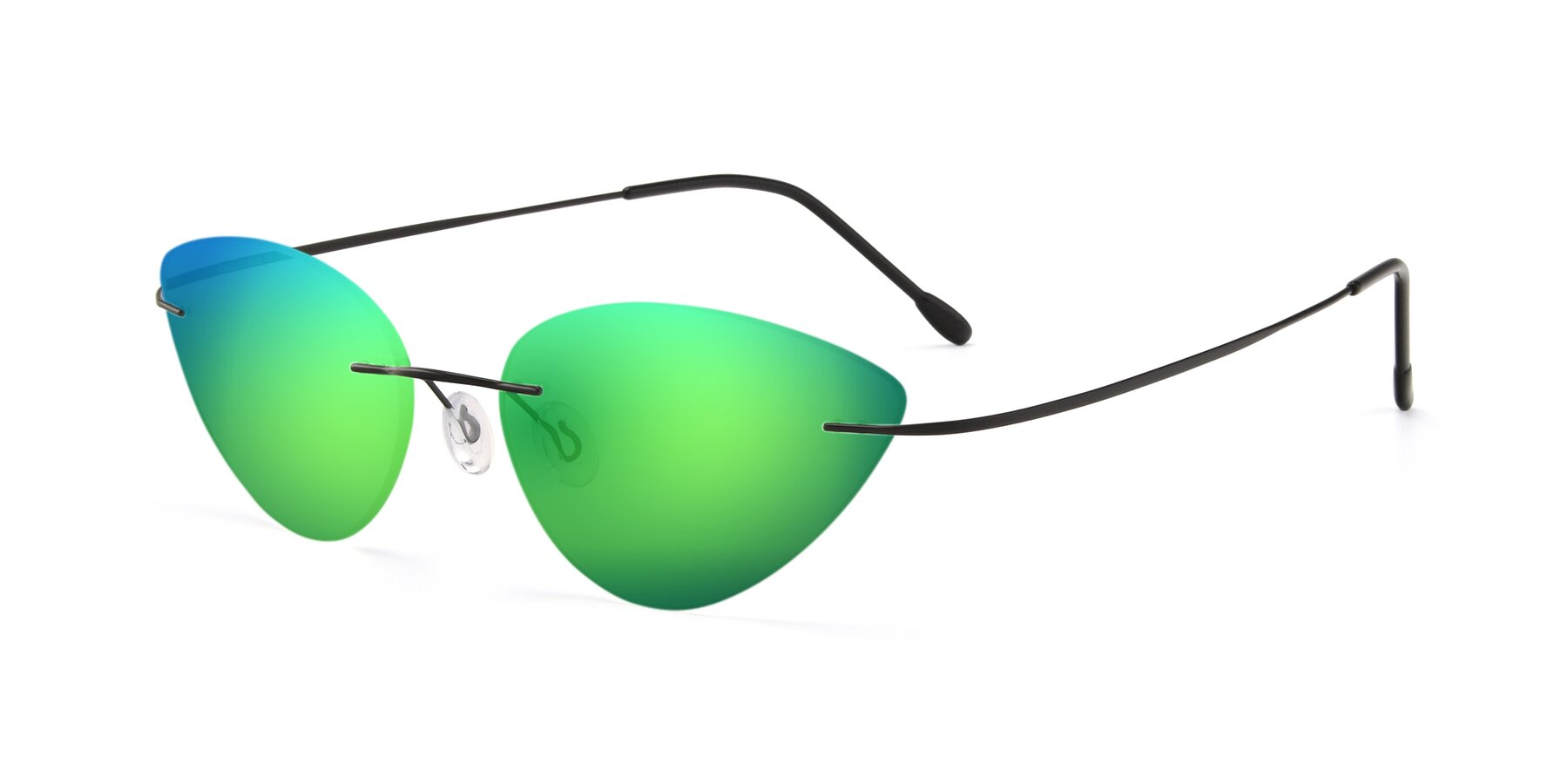 Angle of Pat in Black with Green Mirrored Lenses