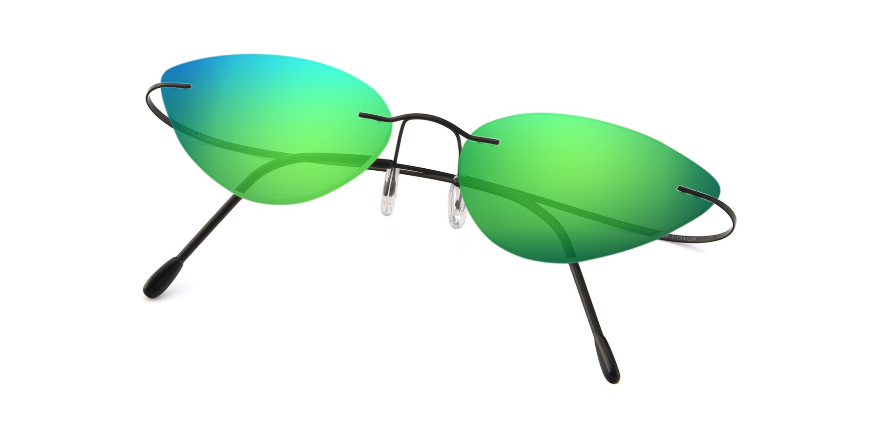 View of Pat in Black with Green Mirrored Lenses