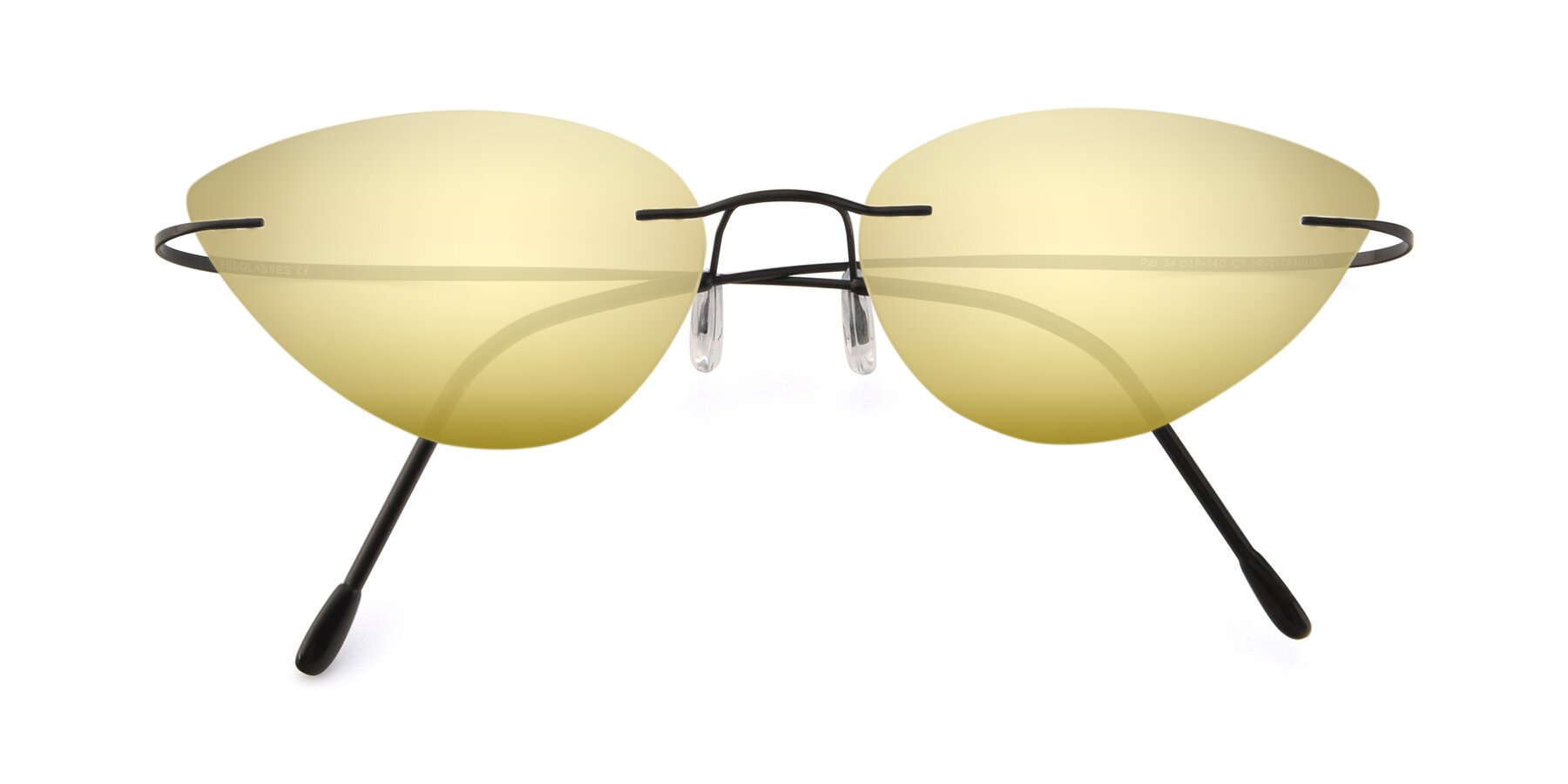 Folded Front of Pat in Black with Gold Mirrored Lenses