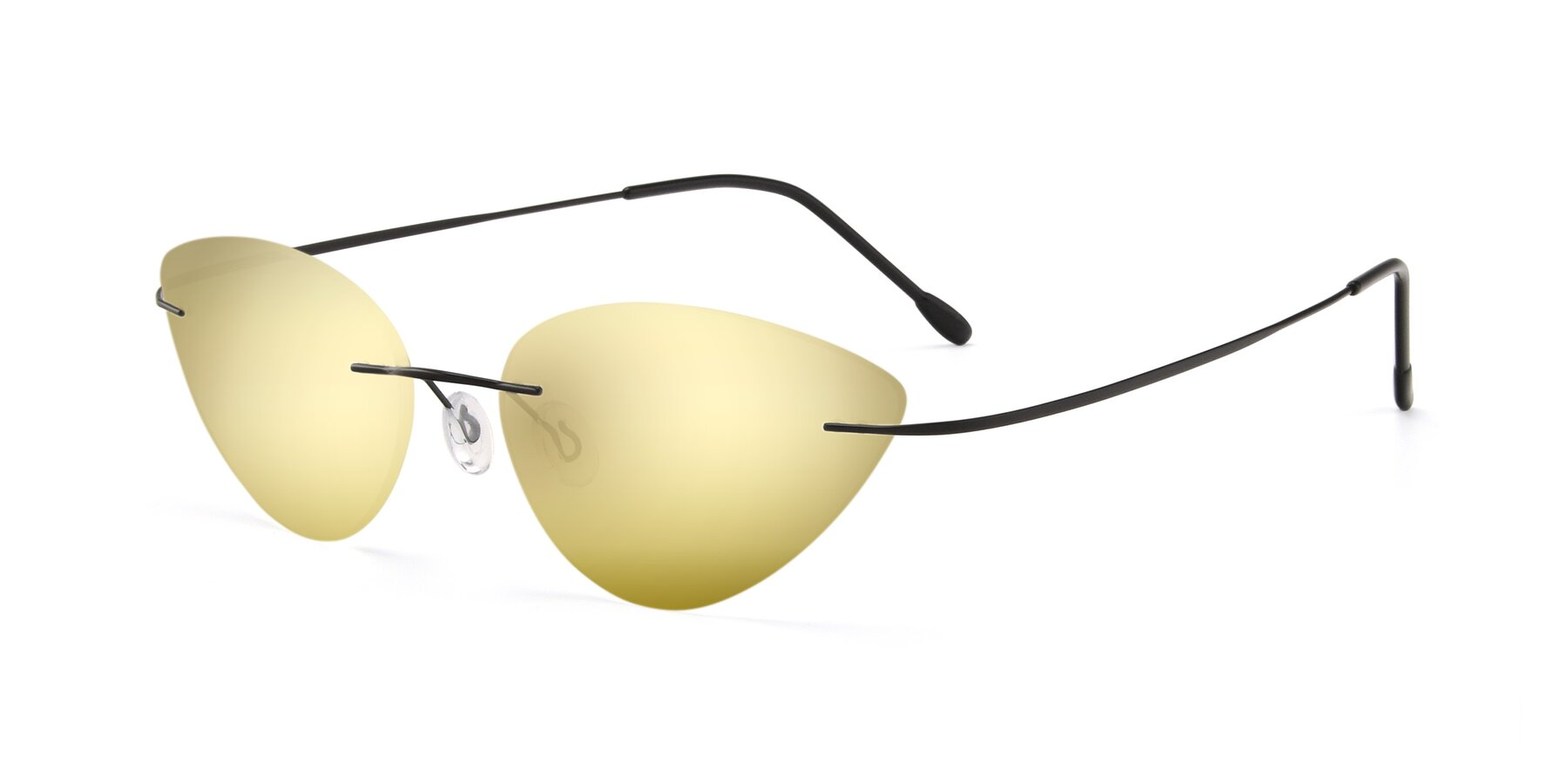 Angle of Pat in Black with Gold Mirrored Lenses