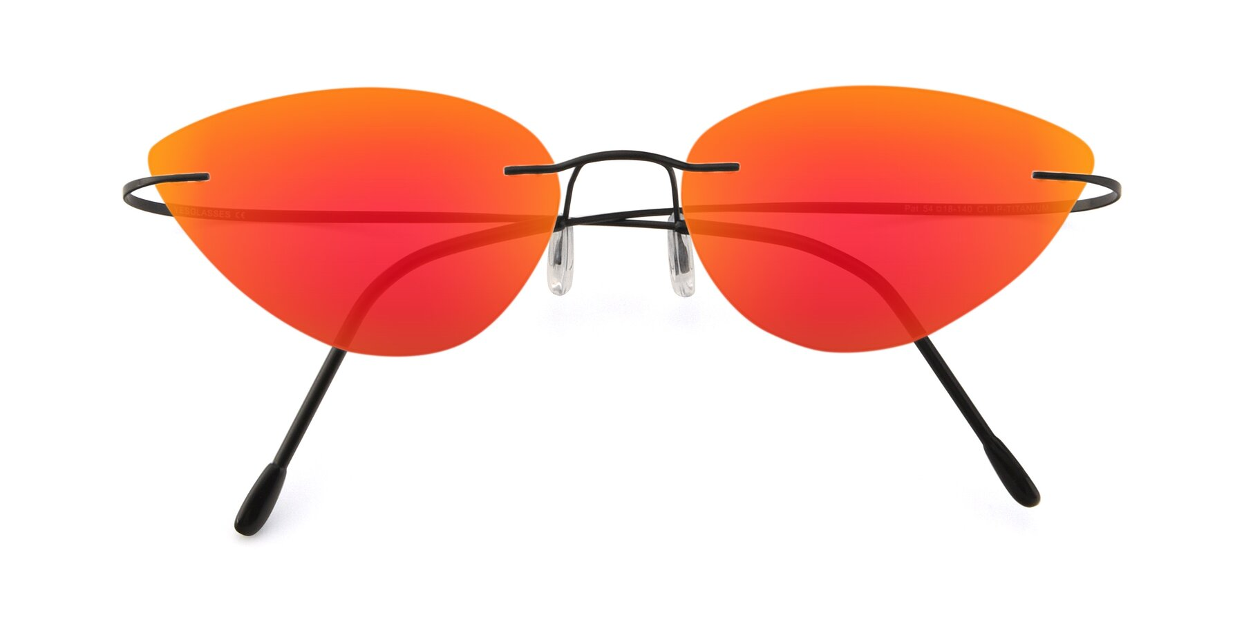 Folded Front of Pat in Black with Red Gold Mirrored Lenses